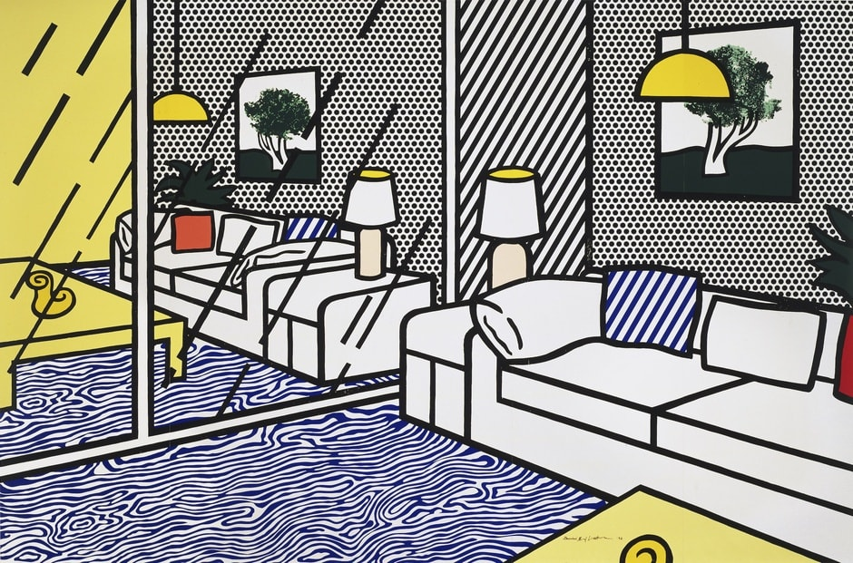 Wallpaper with Blue Floor Interior, 1992 by Roy Lichtenstein, Screenprint from an edition of 300, at Coskun Fine Art