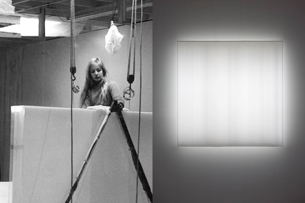 Mary Corse in her downtown Studio © Mary Corse, Kayne Griffin Corcoran, Lehman Maupin, and Lisson Gallery
