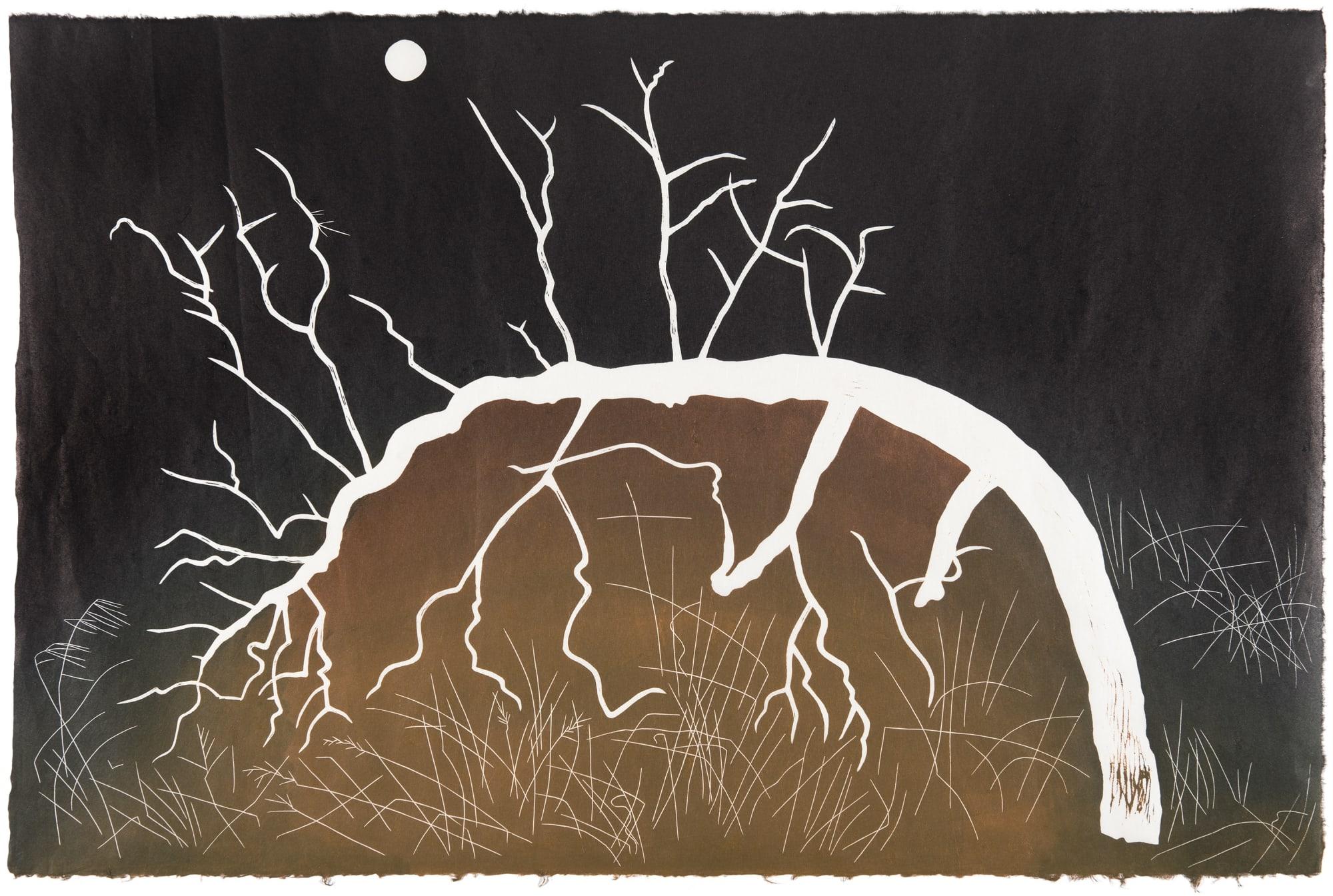 Burnt Bent Glyph, 2020, an artwork by Australian contemporary printmaker GW Bot, represented by Rebecca Hossack Art Gallery