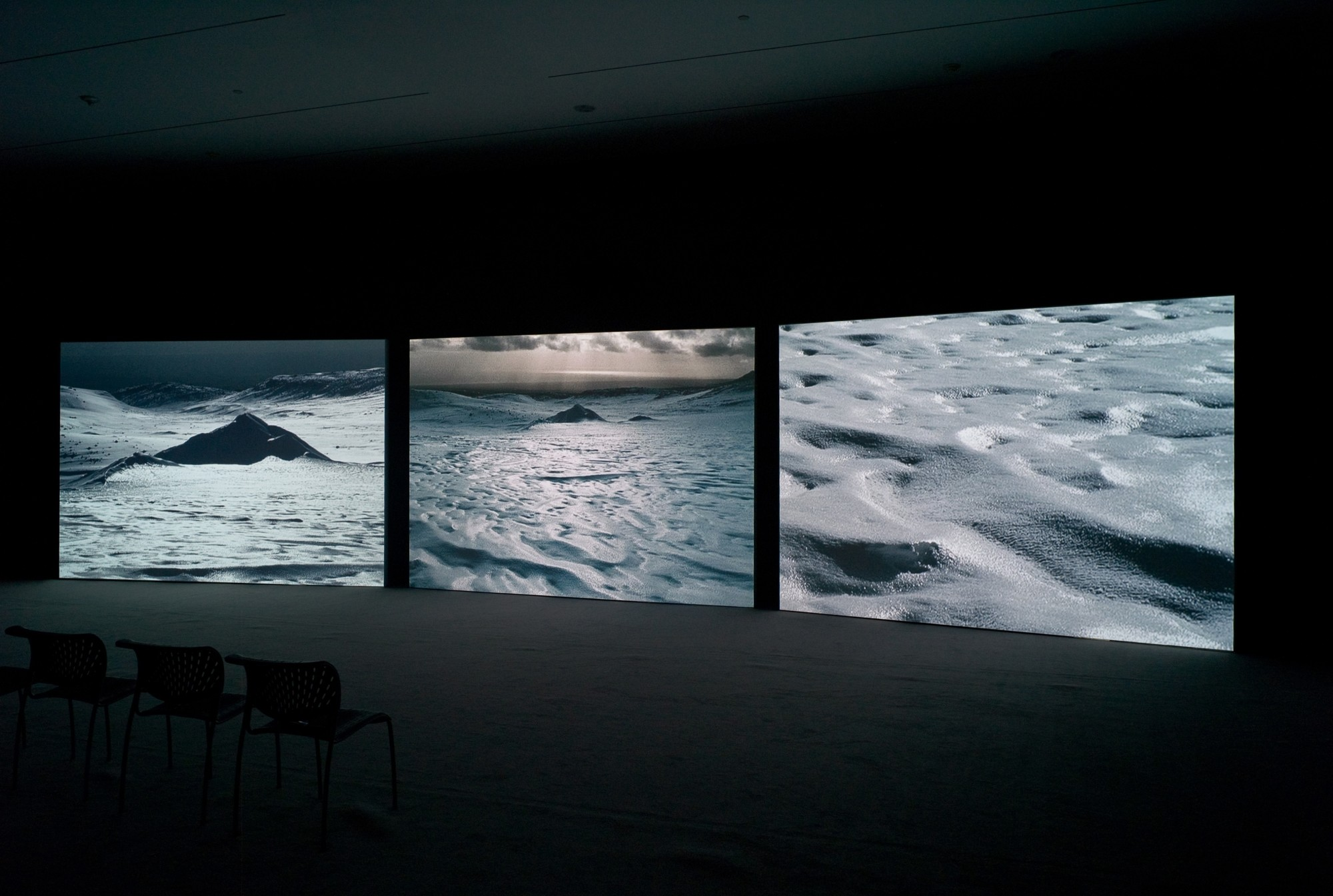 Arctic Re-visions: Isaac Julien's True North. Akron Art Museum, Ohio, 2010  14'' 20', three-screen projection, 16mm film transferred to DVD, black & white/colour, sound.