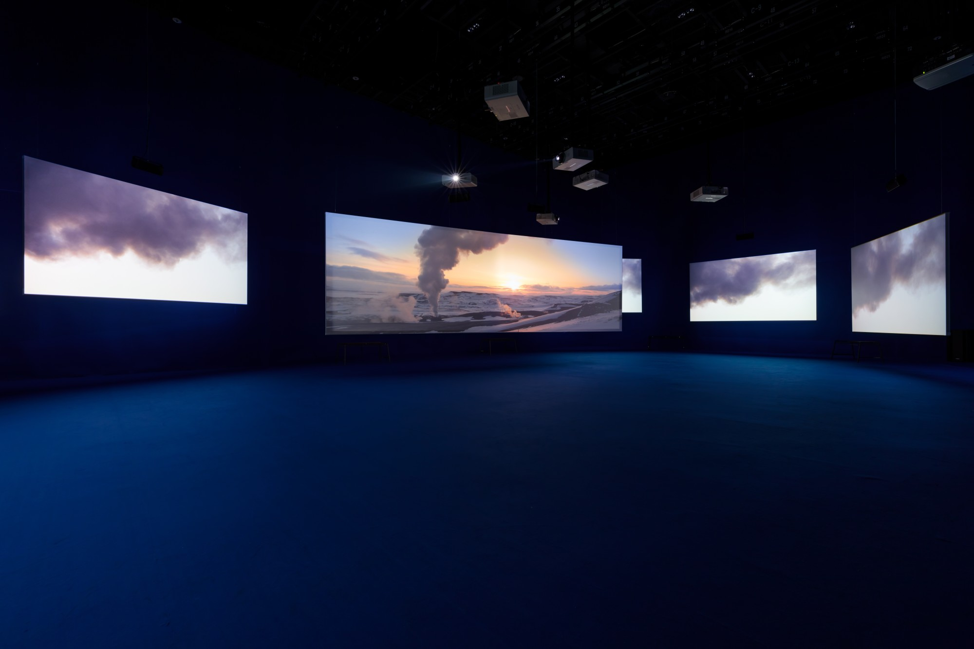 """PLAYTIME. PLATFORM-L CONTEMPORARY ART CENTER, SEOUL, 2017  Seven screen ultra high definition video installation with 7.1 surround sound, 66'57"""""""