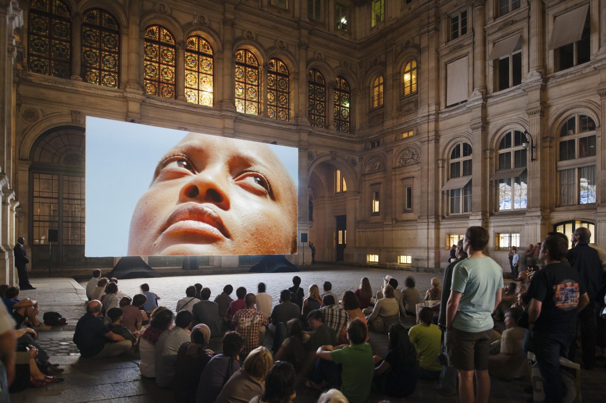 """Nuit Blanche. Cour deL'hôtel de Ville, Paris, 2011.  Super 16mm colour film, transferred to High Definition, 5.1 sound, 19' 51"""""""