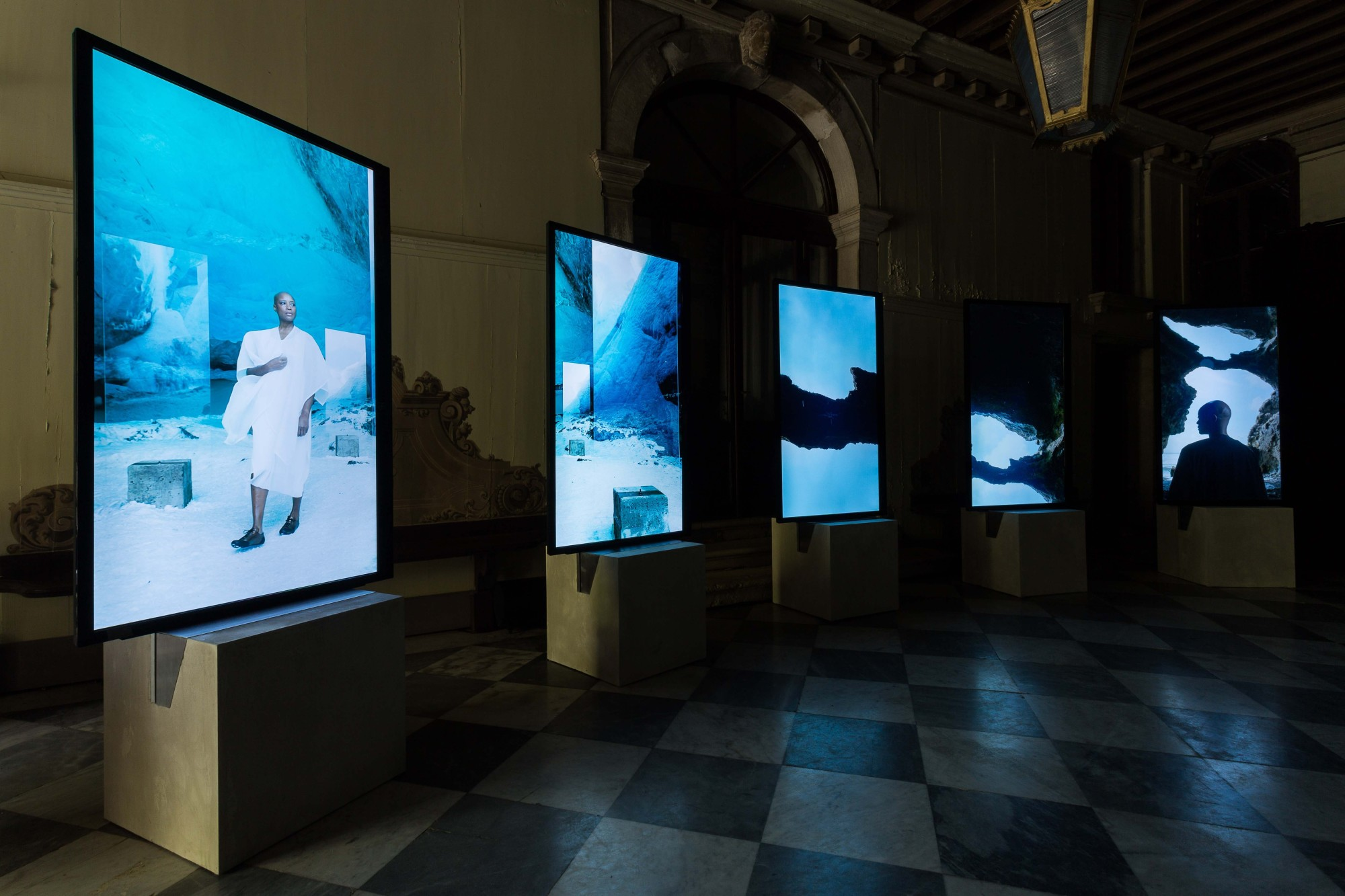 Stones Against Diamonds, Rolls-Royce Arts Programme. Palazzo Malipiero, Venice, 2015  58'28'', high definition video on 5 portrait screens, colour, stereo sound