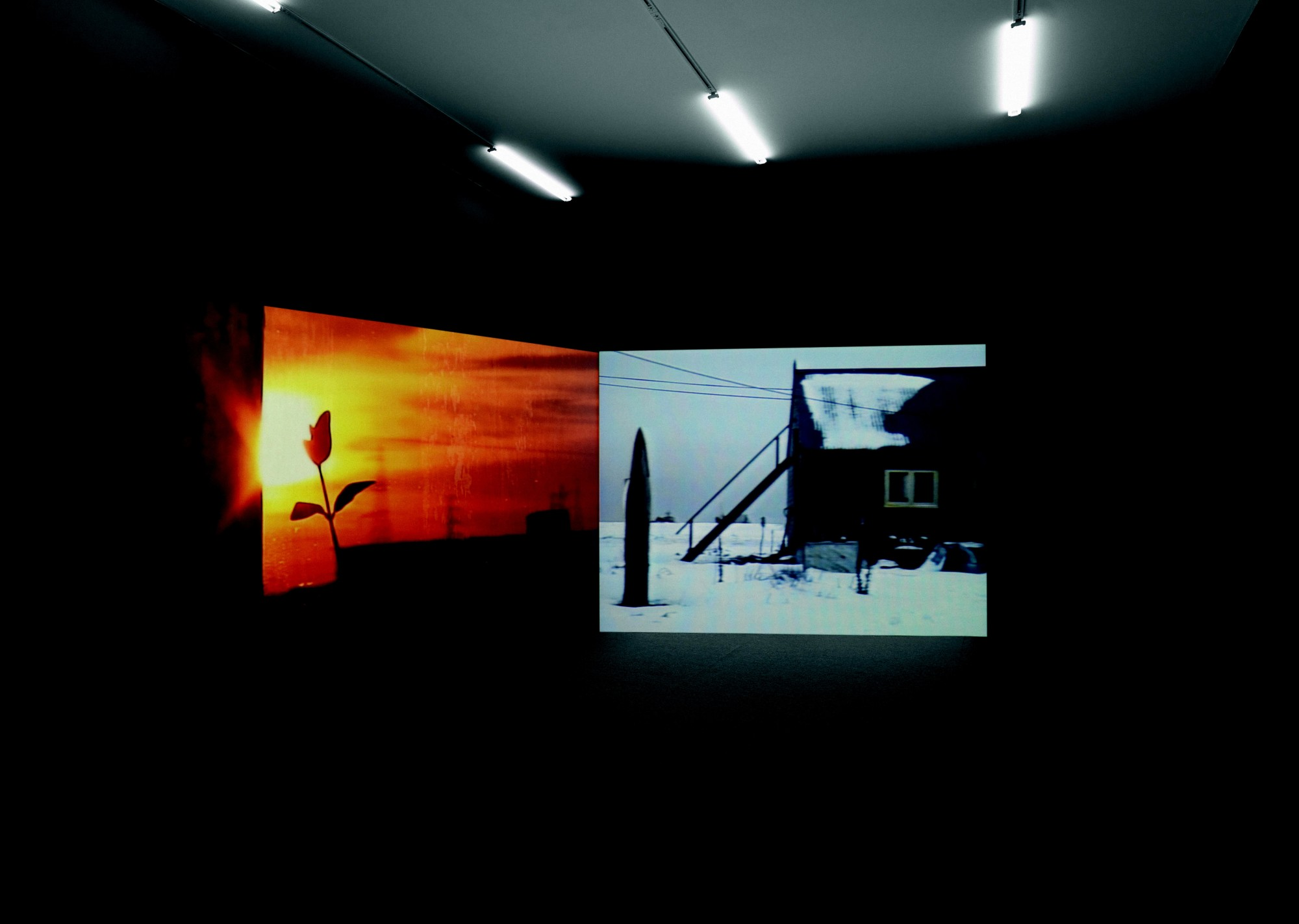 Dungeness. Kunsthalle Zürich, 2008  16'10'', Two-screen installation, Super 8 and 16mm film, colour, sound