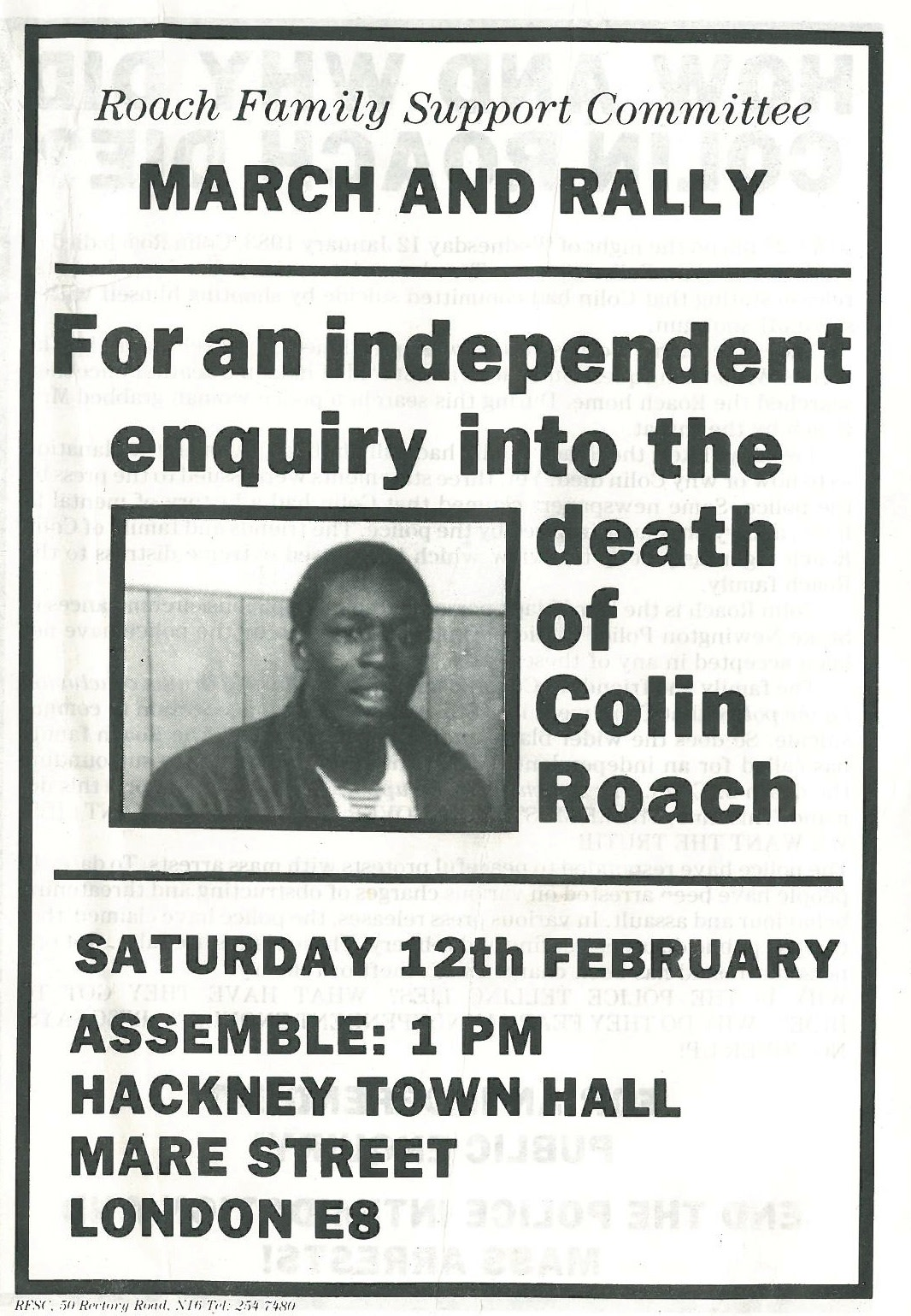 Flyer for a rally in Hackney  1983