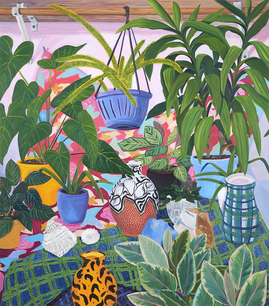 Anna Valdez, Painted Pots with Studio Plants, 2019