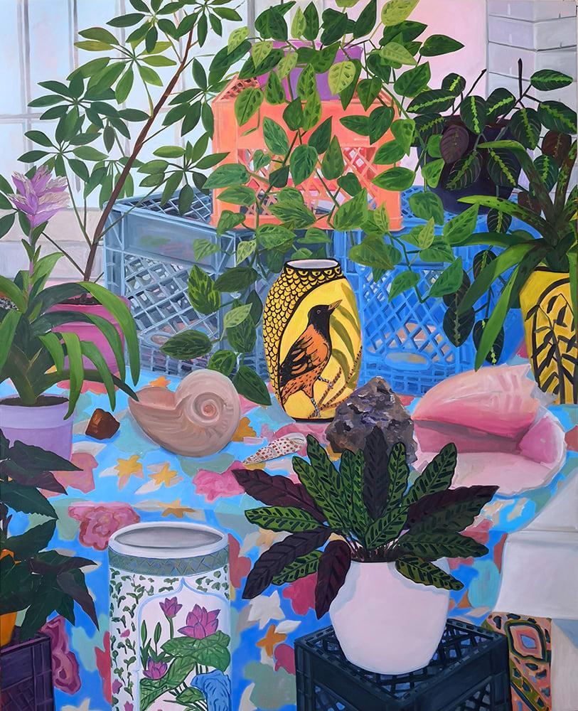 Anna Valdez, Bird Vase in Studio, 2019