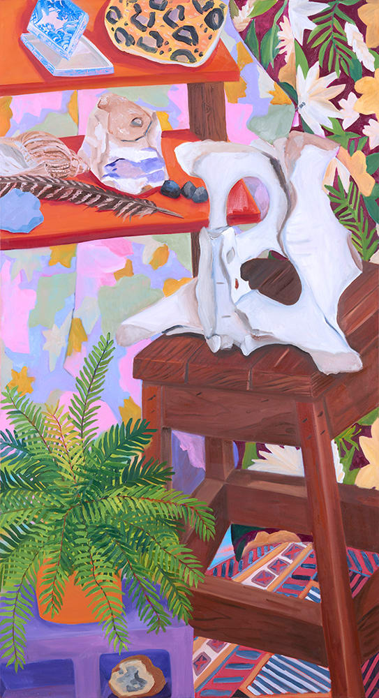 Anna Valdez, Cow Pelvis with Fern, 2019