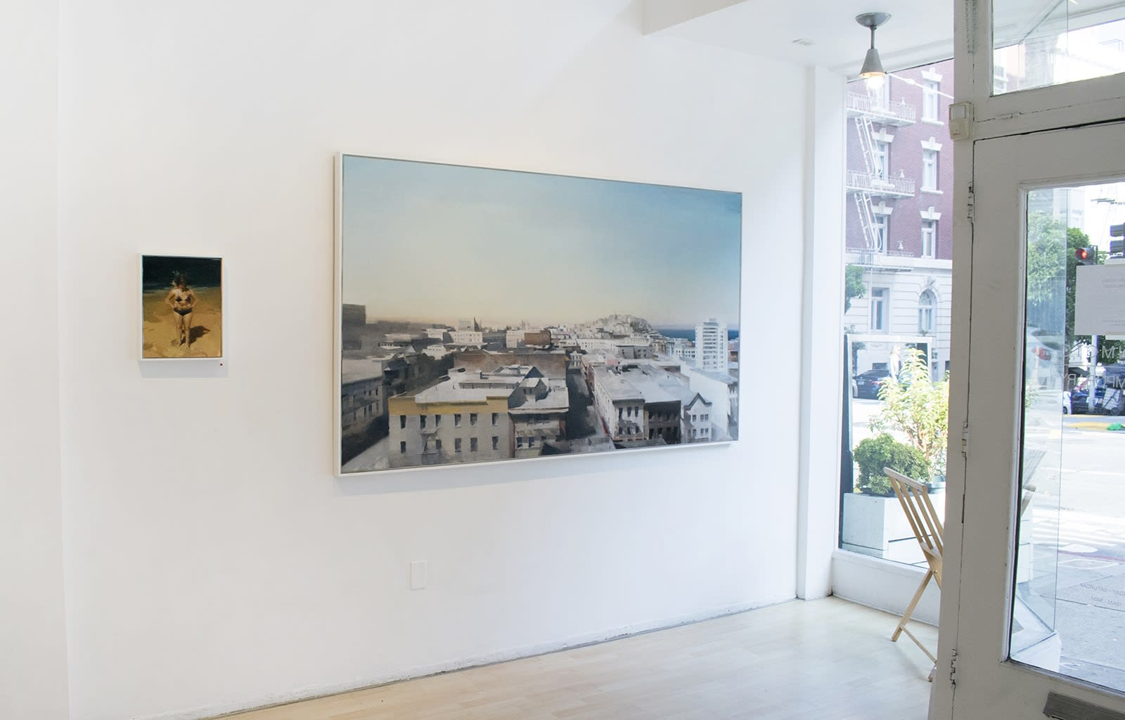 "Installation view of oil paintings from Kim Cogan's solo show ""Evergreen"""