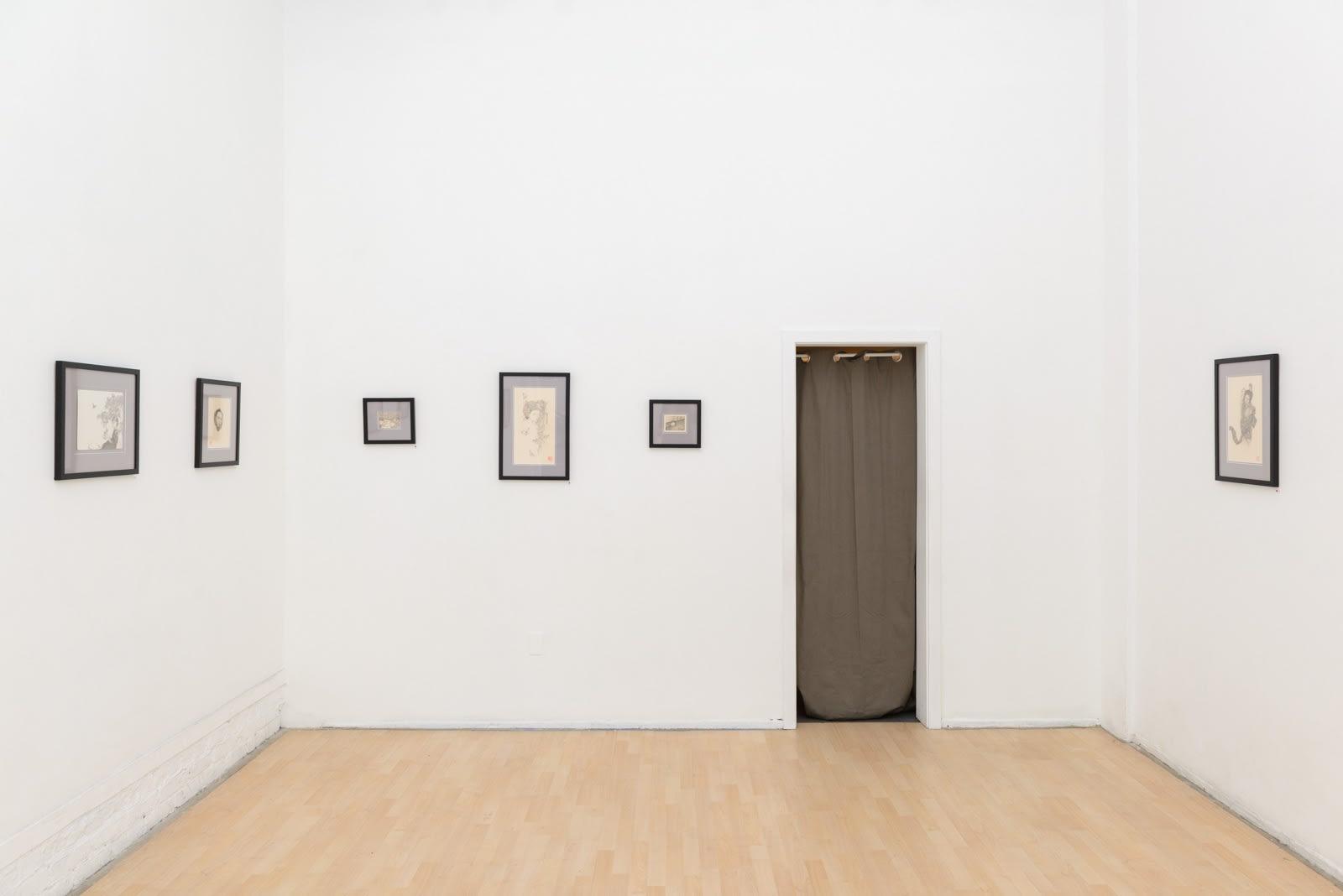Installation view of artist Ozabu's solo exhibition Meguru at Hashimoto Contemporary, San Francisco.