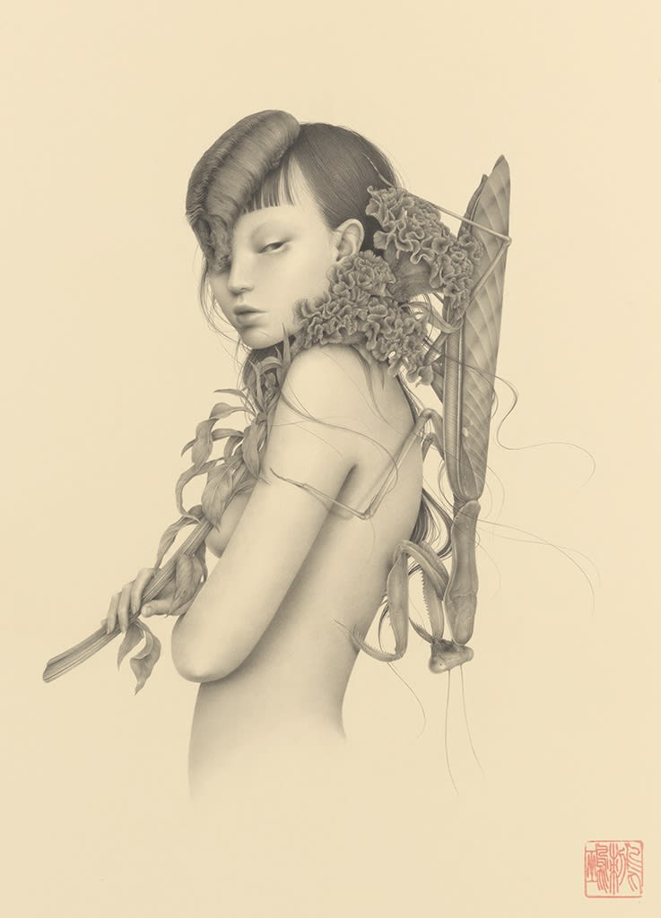 Graphite drawing by Ozabu, featuring nude woman with flowers and insects