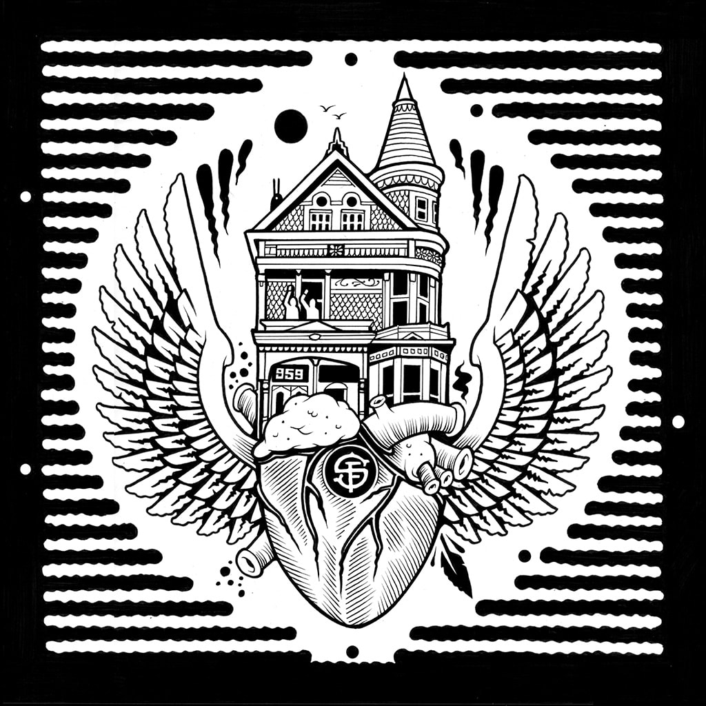 Black and white screenprint by Jeremy Fish, featuring SF building, human heart, and wings