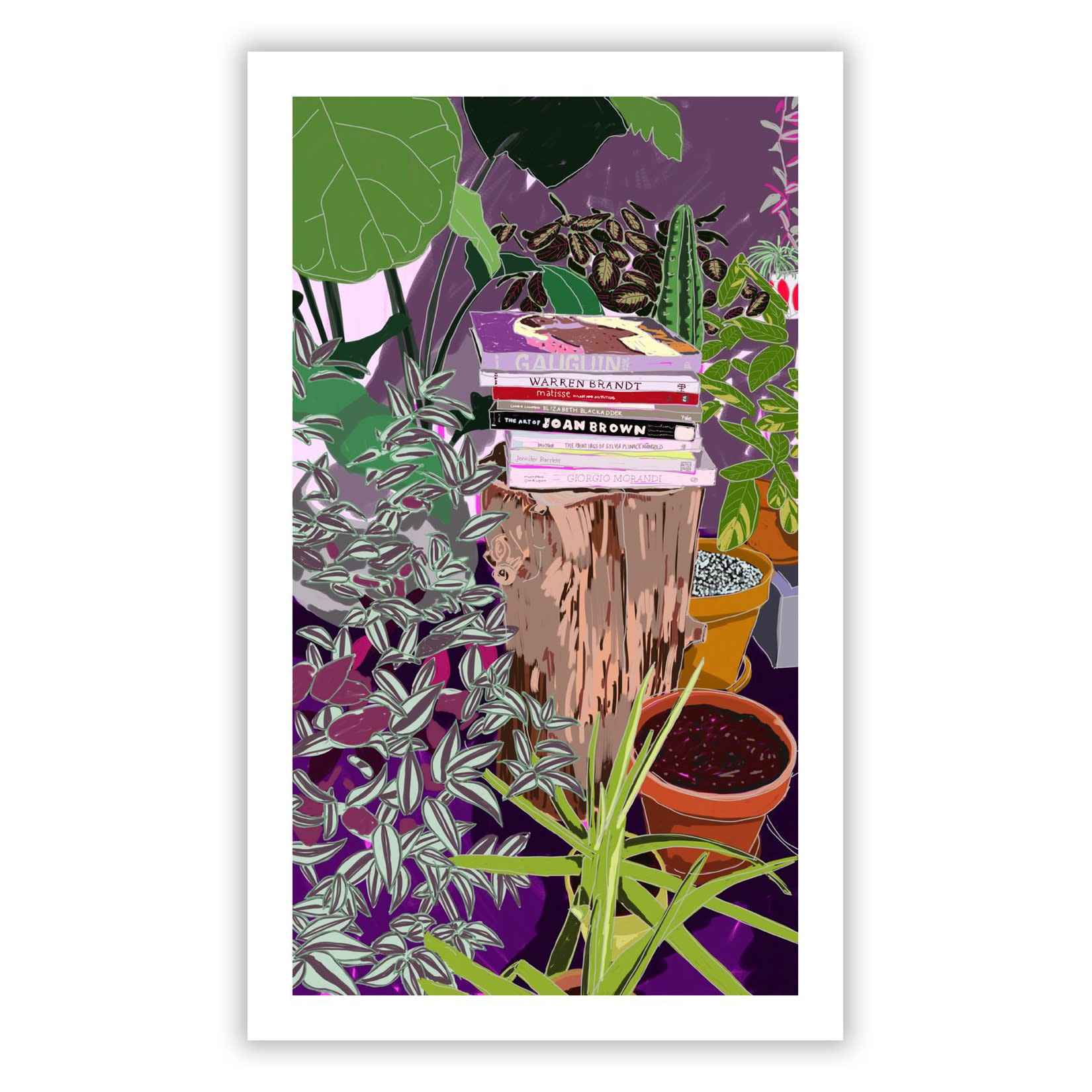 """""""Studio Still Life"""" print by Anna Valdez, featuring plants and books"""