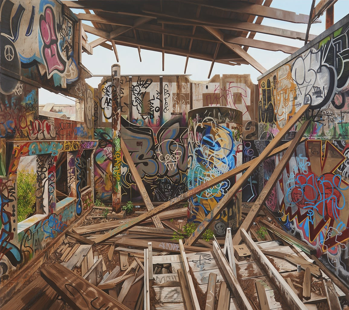 Jessica Hess painting featuring broken down, graffitied building