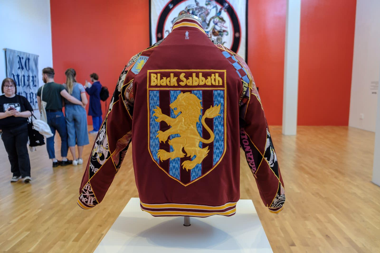 Embroidered/quilted jacket by artist Ben Venom, featuring Black Sabbath lion crest
