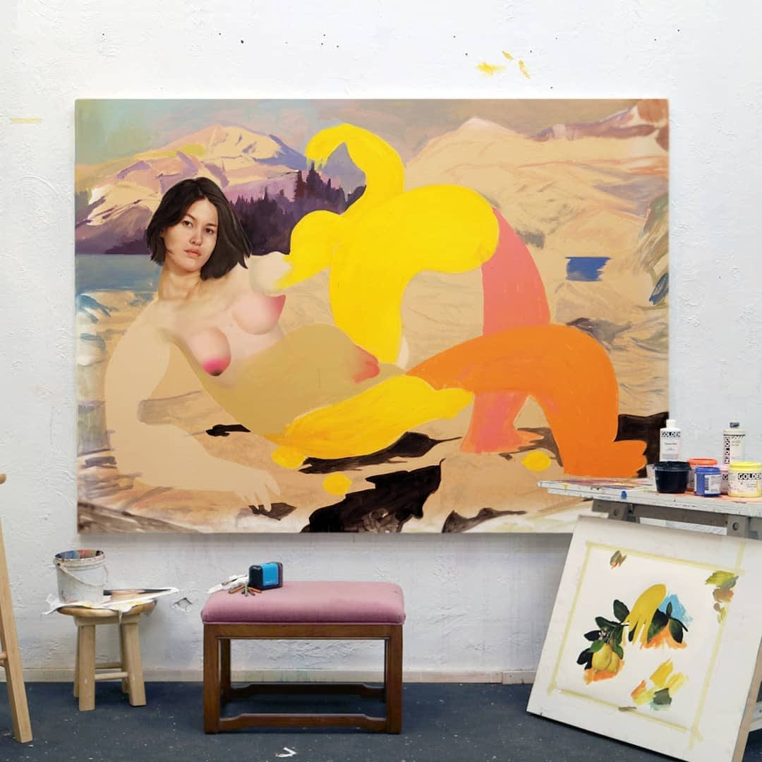 Erik Jones painting in progress in the studio, featuring bright colors and abstracted nude woman