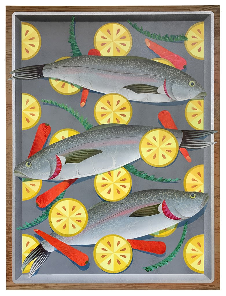 Mixed media painting by Casey Grey, featured fish, lemons, and vegetables on a tray