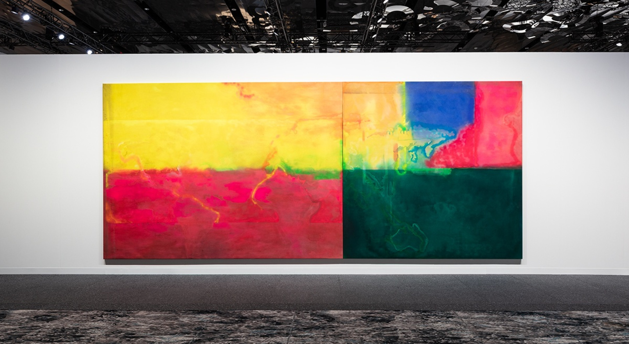 Installation view of Meridians: Frank Bowling in Hales Gallery booth at Art Basel Miami Beach 2019