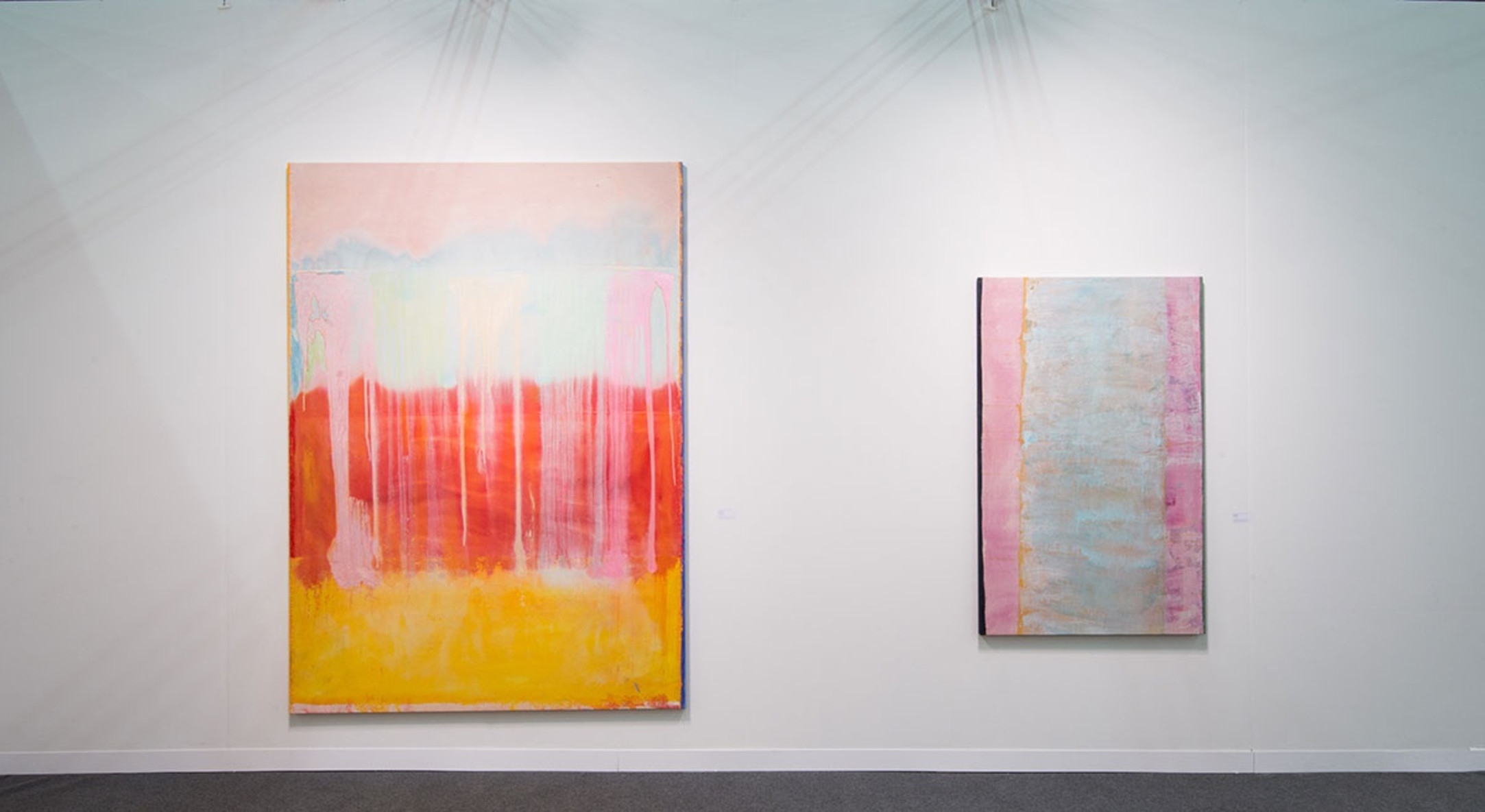 Installation view of Frank Bowling in Hales Gallery Booth at The Armory Show 2016