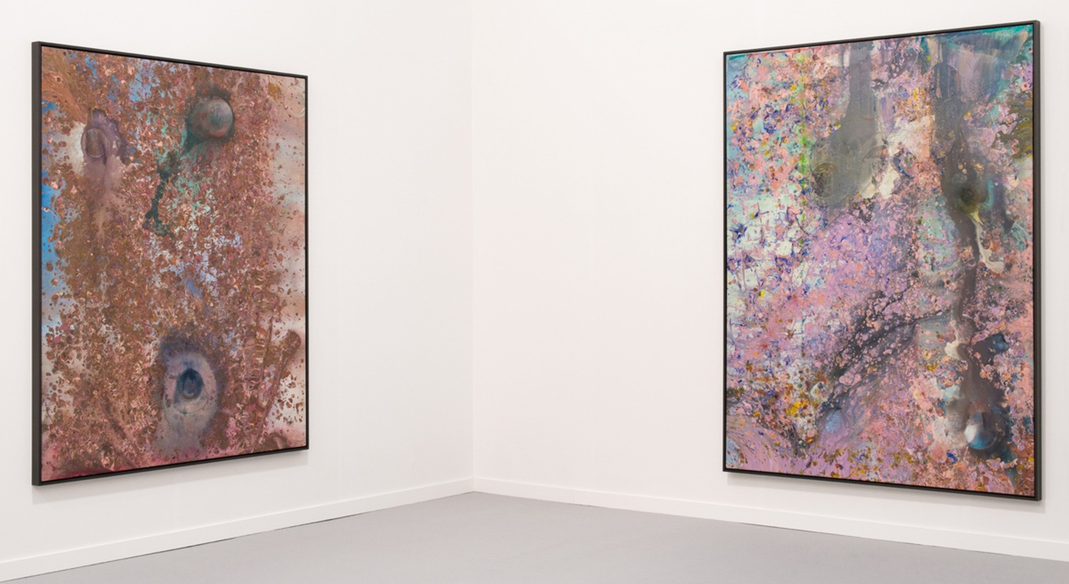 Installation view of Frank Bowling at Hales Gallery Booth at Frieze New York 2016