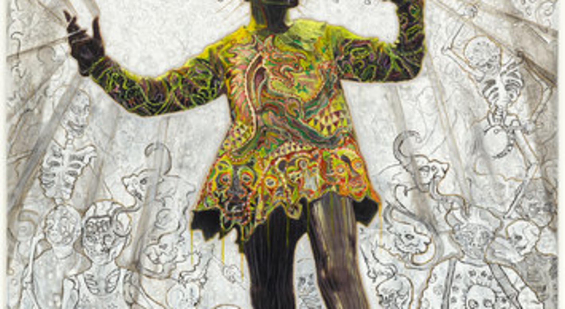Hew Locke, Pan, 2012, Acrylic on chromogenic print, 197.8 x 147 cm, 77 7/8 x 57 7/8 in
