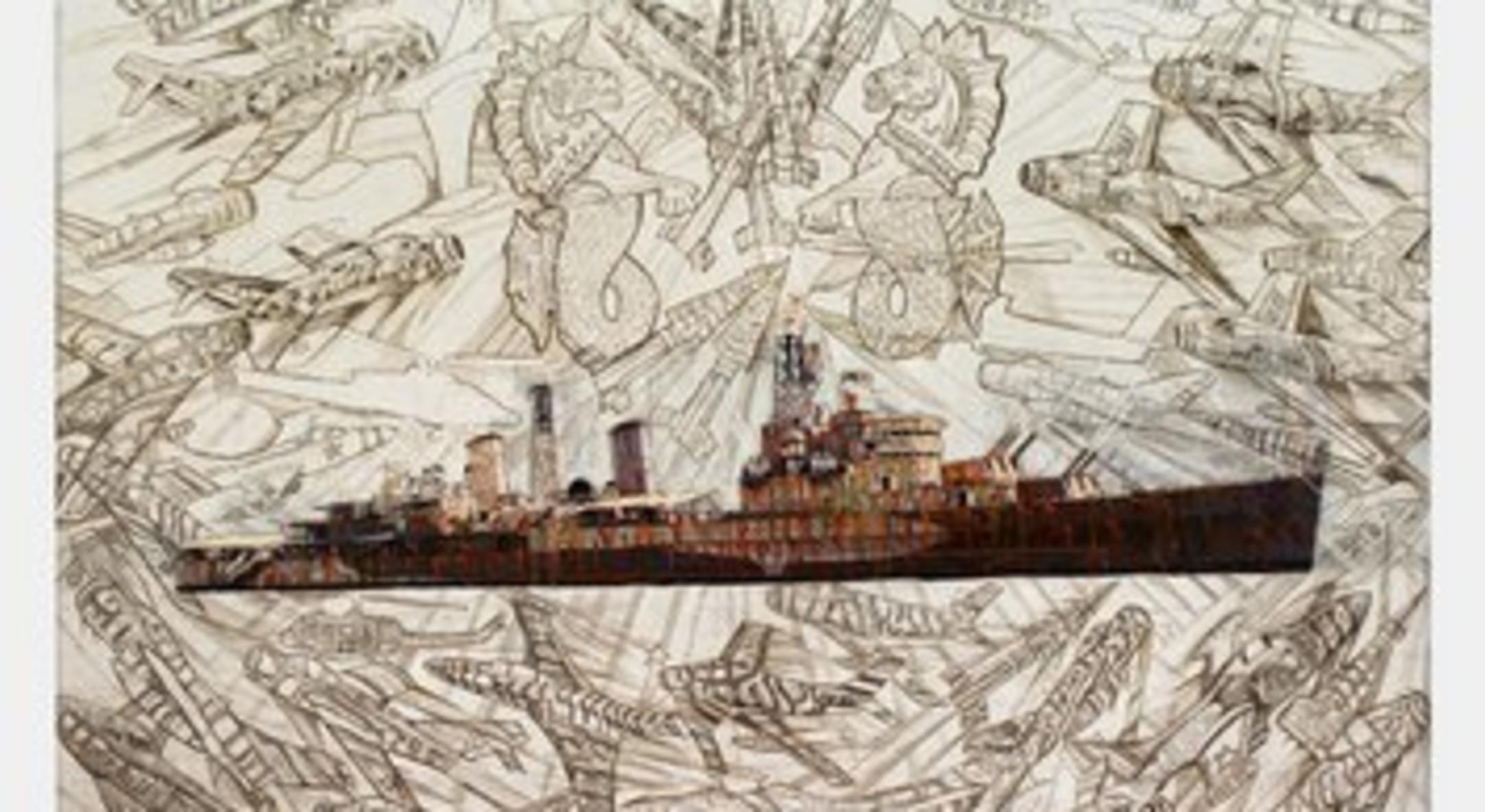 Hew Locke, HMS Belfast, 2012, painted photograph, Unframed: 127 x 188 cm, 50 x 74 1/8 in, Framed: 137.5 x 199 cm, 54 1/8 x 78 3/8 in