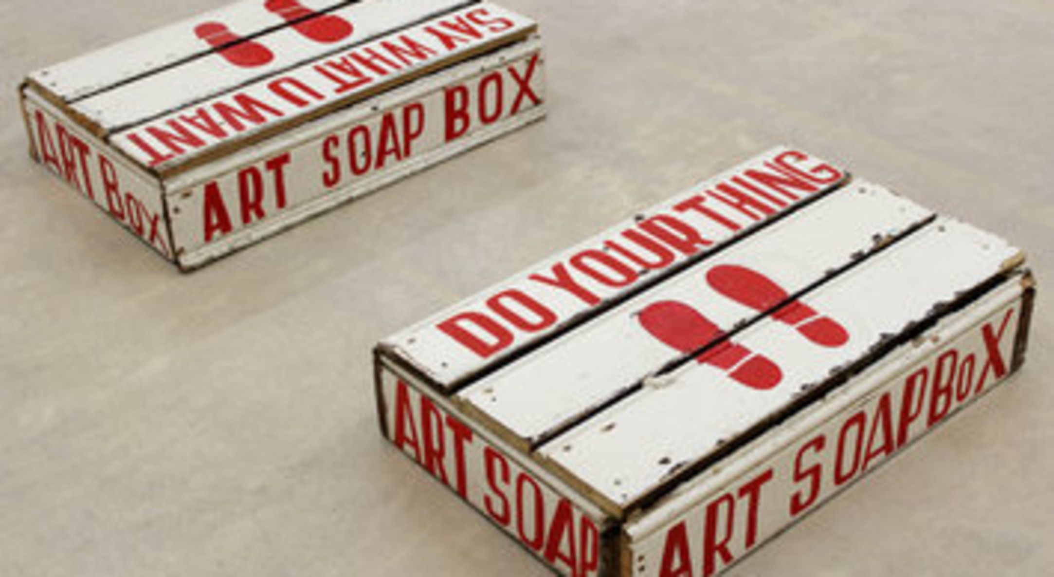 Bob and Roberta Smith, Art Soapbox 1 & 2, 2012, signwriter's paint on board, 20 x 52 x 83 cm, 7 7/8 x 20 1/2 x 32 5/8 in