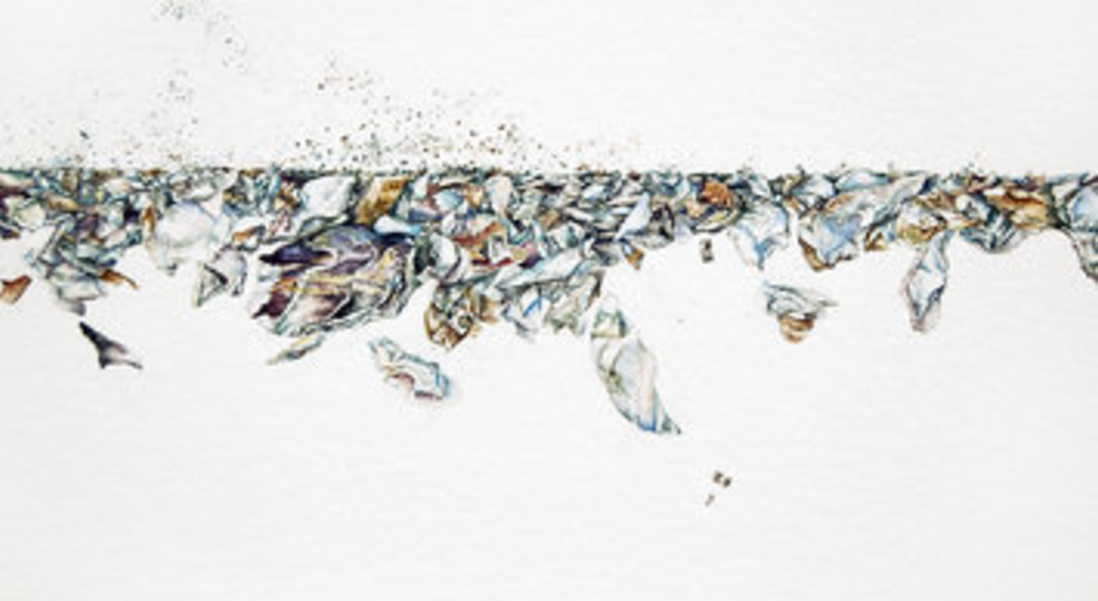 Detail of Jane Wilbraham, Crushed, 2011, watercolour on arches paper, 102 x 152 cm, 40 1/8 x 59 7/8 in