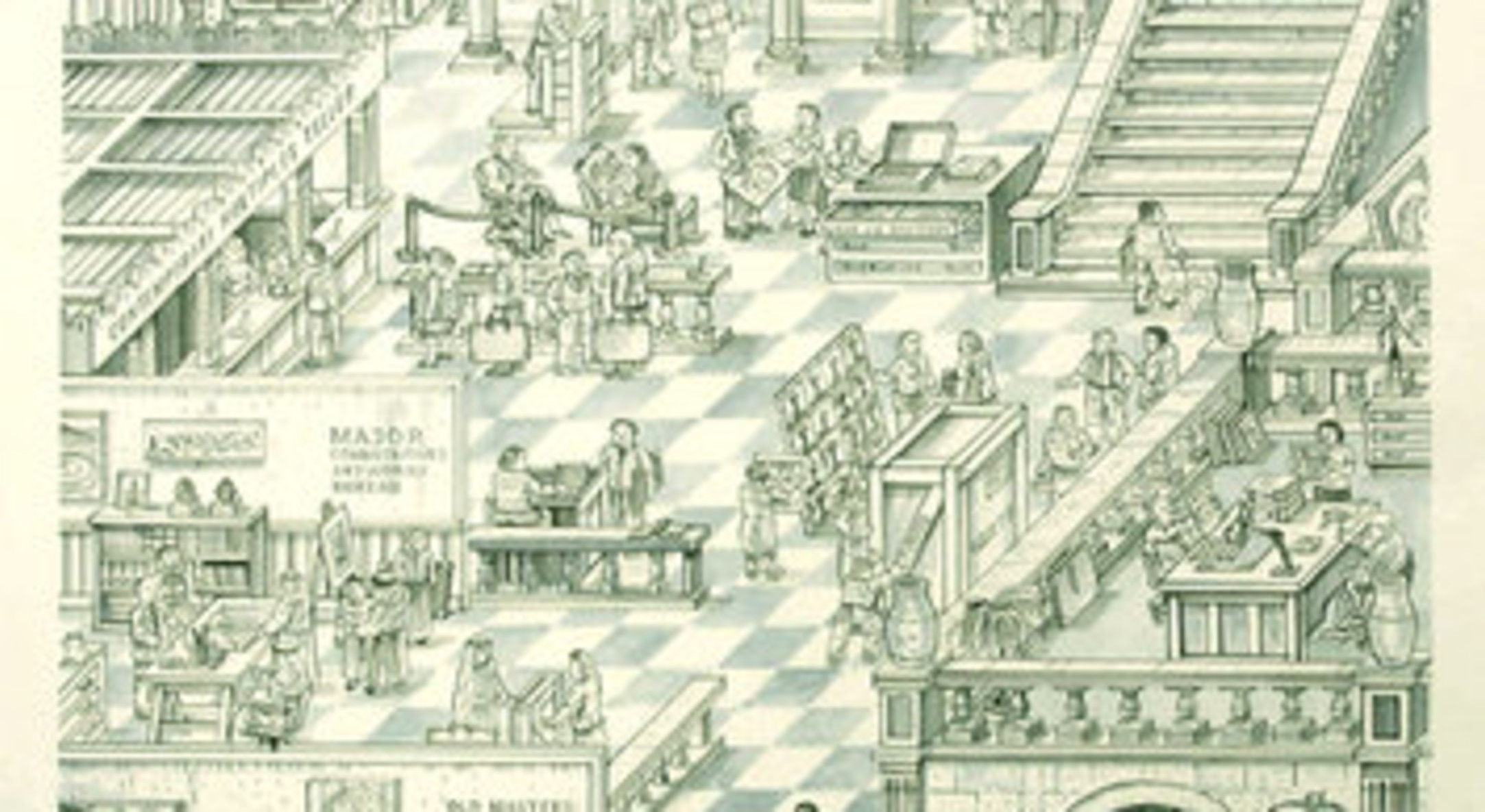 Adam Dant, The Art Bank, 2007, Hand coloured lithogram, 64 x 85 cms, 25.22 x 33.49 inches, Edition of 50