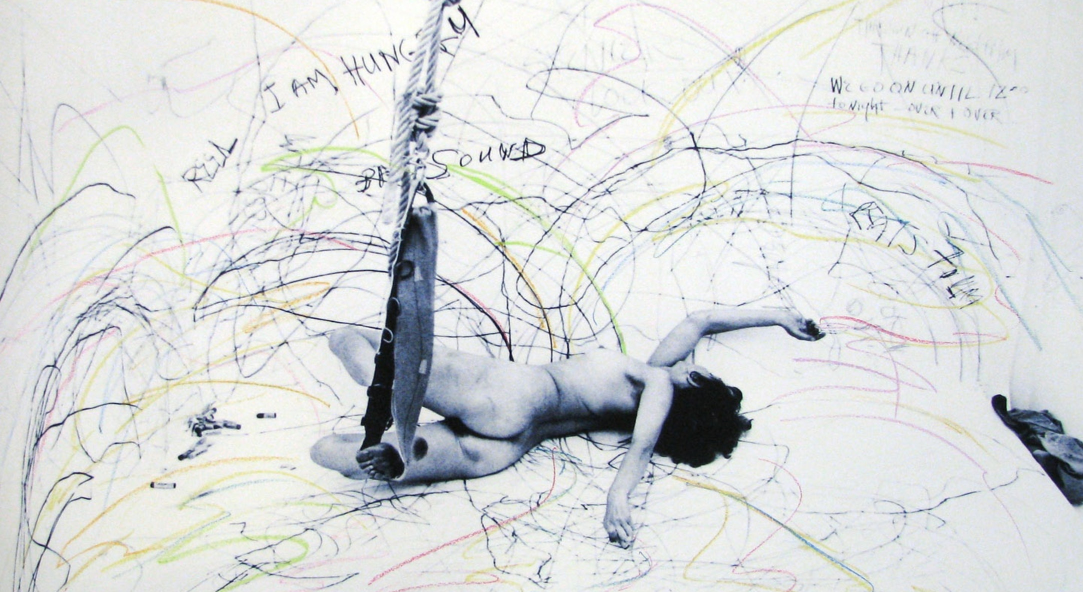 Carolee Schneemann, Up To and Including Her Limits-Blue, 1973-76/2011, Giclée print with hand drawing, Print: 91.4 x 124.5 cm, 36 x 49 in, Paper: 100.3 x 132.1 cm, 39 1/2 x 52 in
