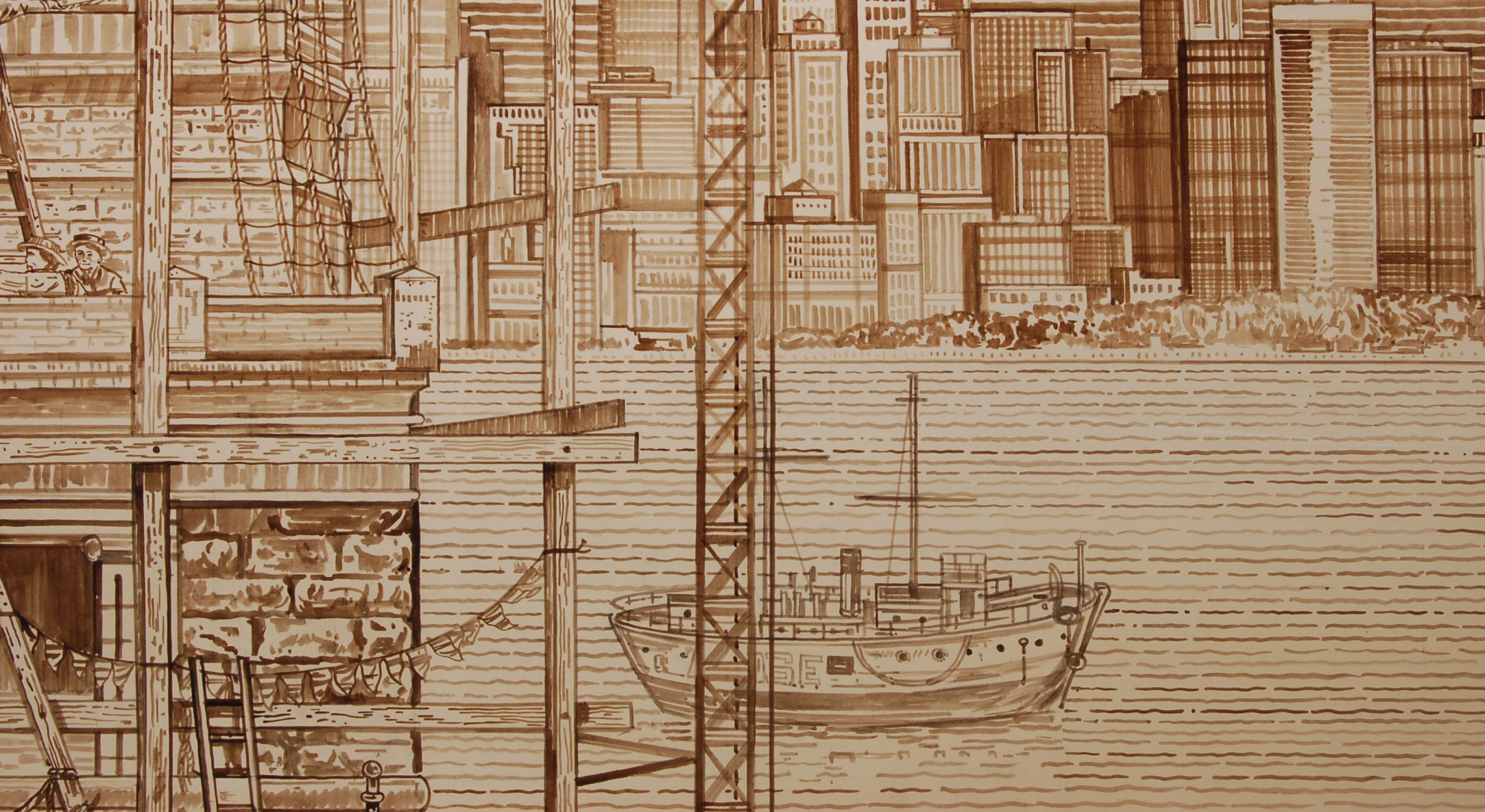 Detail of Adam Dant, Liberty, 2008, Ink on paper, 200.5 x 259 cm, 79 x 102.05 in