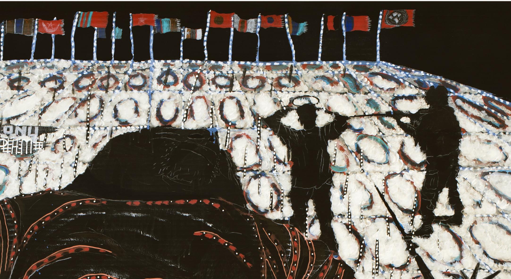 Detail of Omar Ba, Afrique, Afrique, Afrique, 2014, Oil, gouache, ink, and pencil on corrugated card, 190 x 143 cm, 74 3/4 x 56 1/4 in