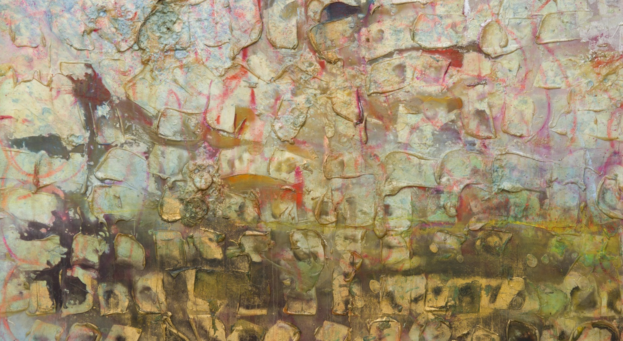 Detail of Frank Bowling, Fishes, Wishes and Uncle Jack, 1989, Acrylic on canvas, 180.5 x 227.5 cm, 71 1/8 x 89 5/8 in, Framed: 186.2 x 233.2 x 4.4 cm, 73 1/4 x 91 3/4 x 1 3/4 in