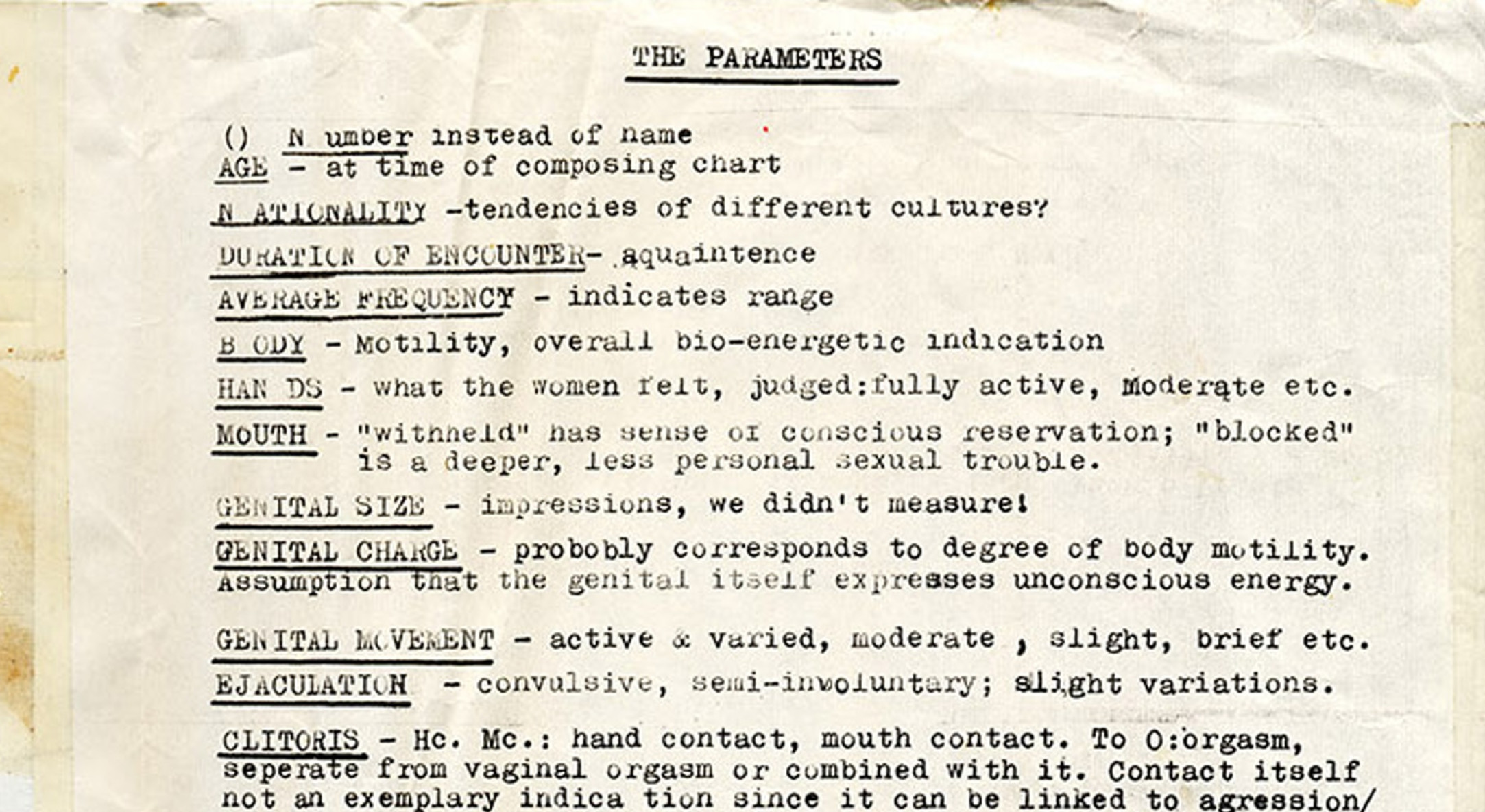 Detail of Carolee Schneemann, Ye Olde Sex Chart (Sexual Parameters Chart), 1969-71, 1975, Unique xerox print with pen, 26.7 x 120.7 cm, 10 1/2 x 47 1/2 in