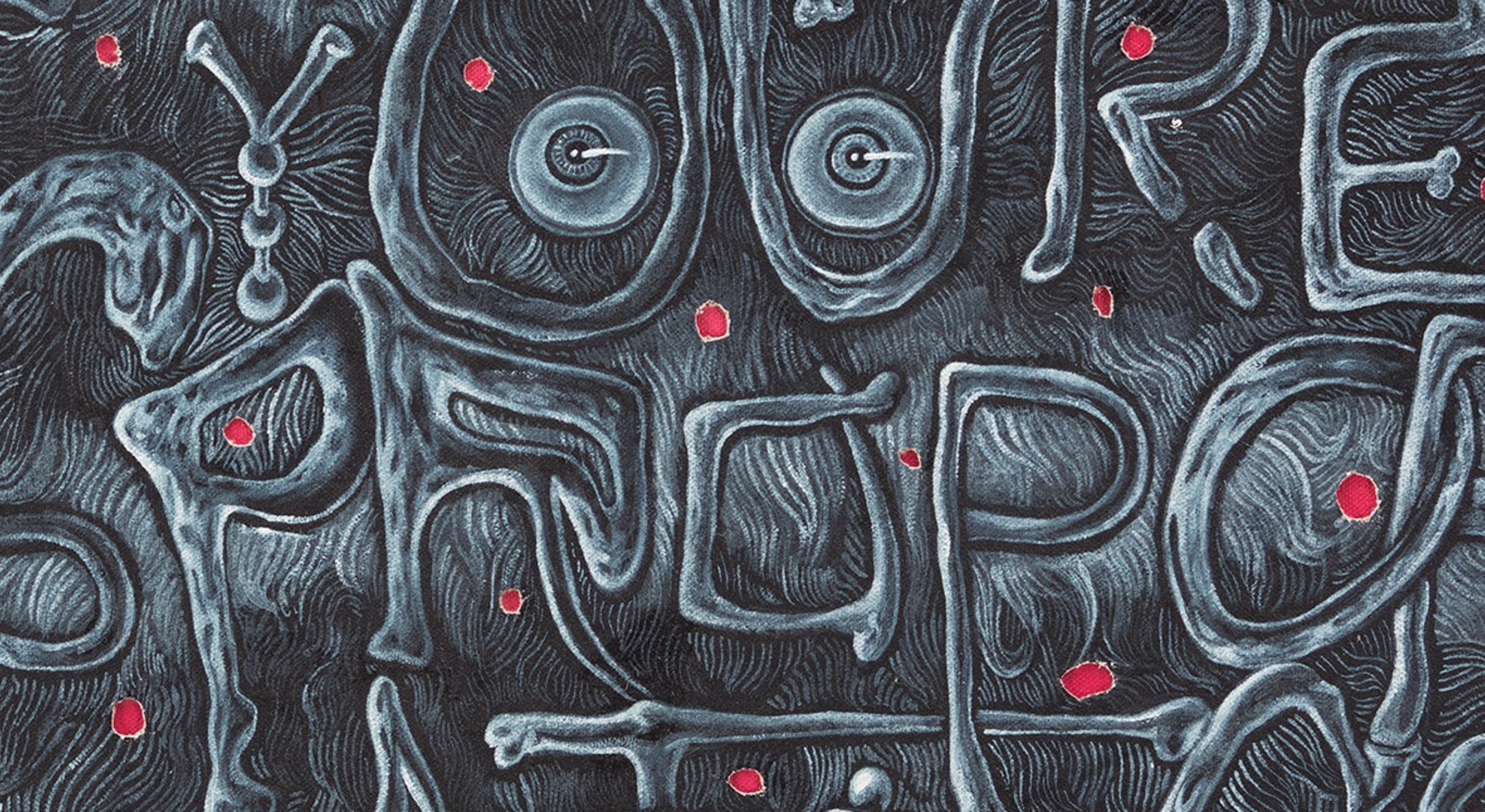 Detail of Trenton Doyle Hancock, You're Unfortunate if You're Disproportionate so Stop Forcing it, 2012, Acrylic and mixed media on canvas, 61 x 61 x 5.1 cm, 24 x 24 x 2 in