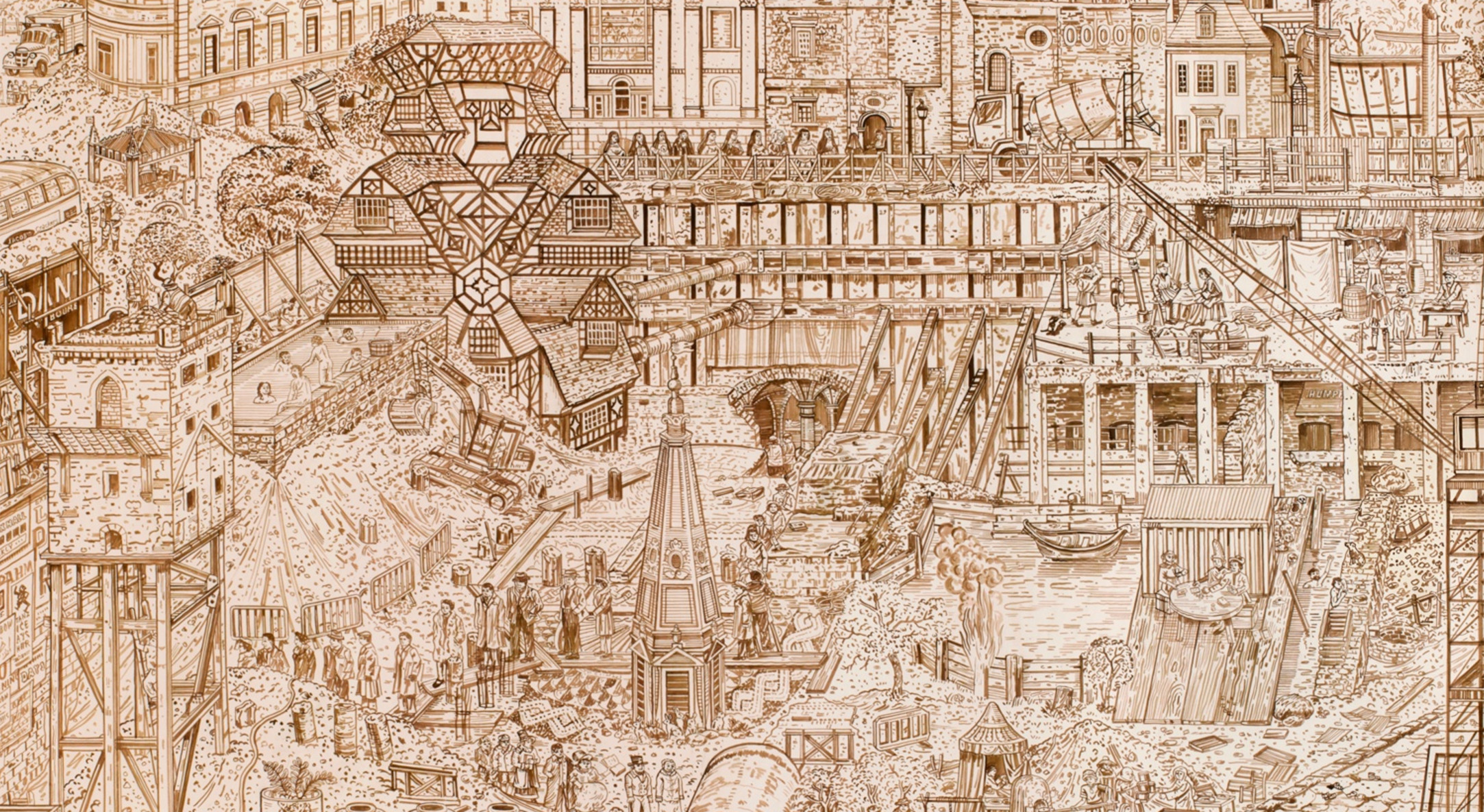 Detail of Adam Dant, Budge Row Bibliotheque, 2014, Ink on paper, 243 x 366 cm, 95 5/8 x 144 1/8 in