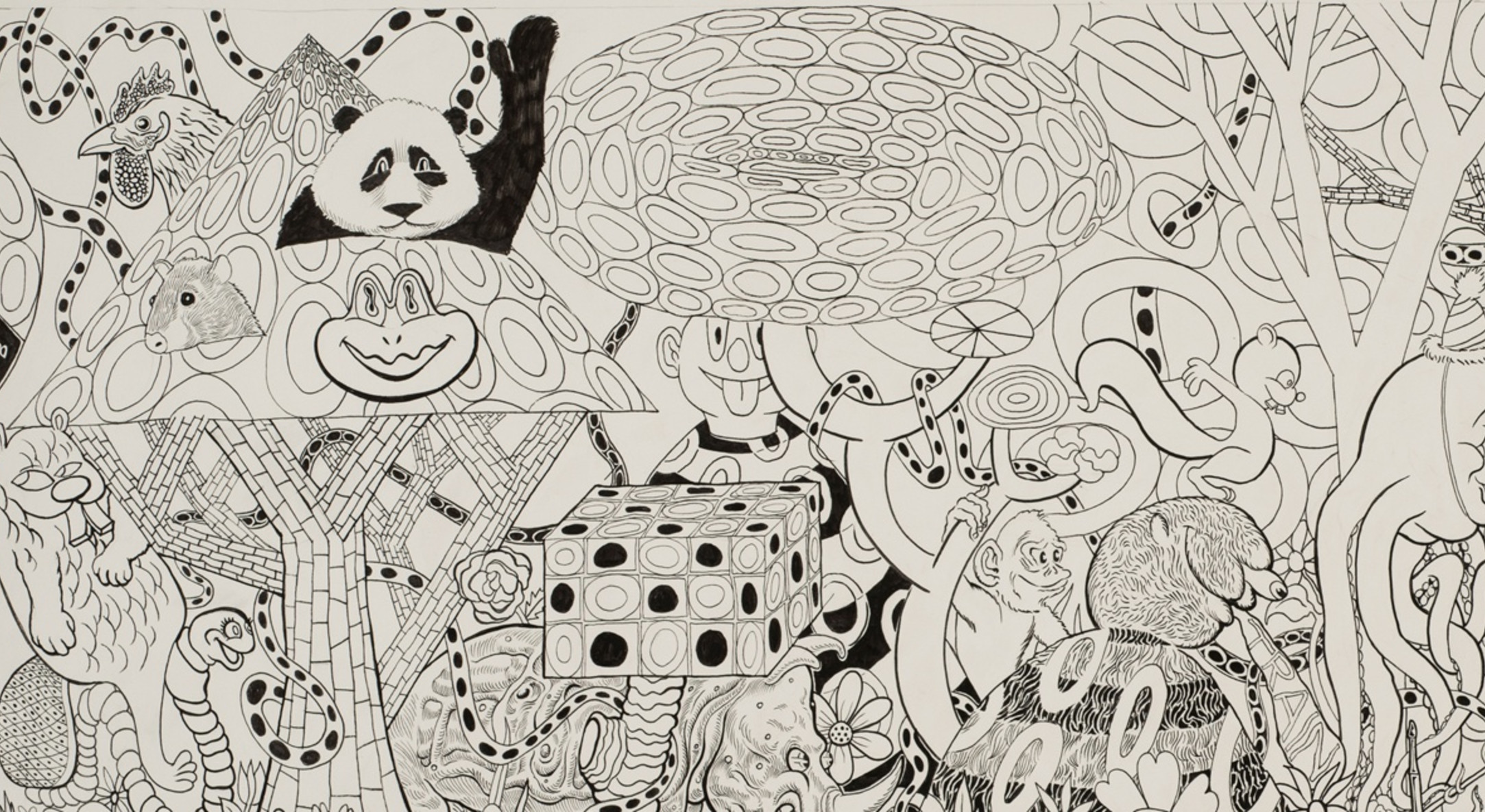 Detail of Trenton Doyle Hancock, Destination Mound Town: Morning, 2013, Ink and graphite on paper, 36.8 x 86.4 cm, 14 1/2 x 34 in