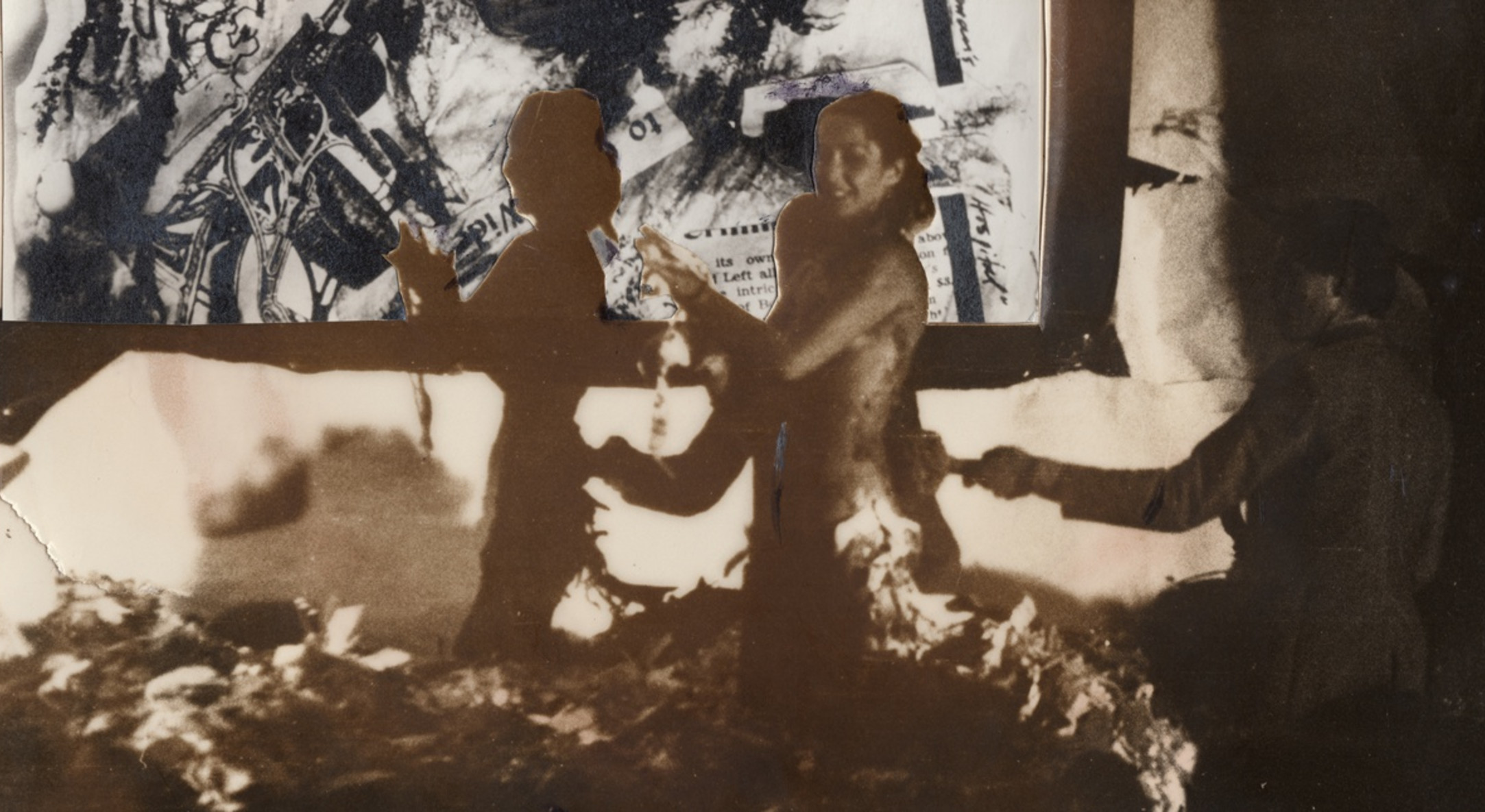 Detail of Carolee Schneemann, Naked Action Lecture 1, 1968, silver gelatin print collage, 20.3 x 25 cm, 8 x 9 7/8 in