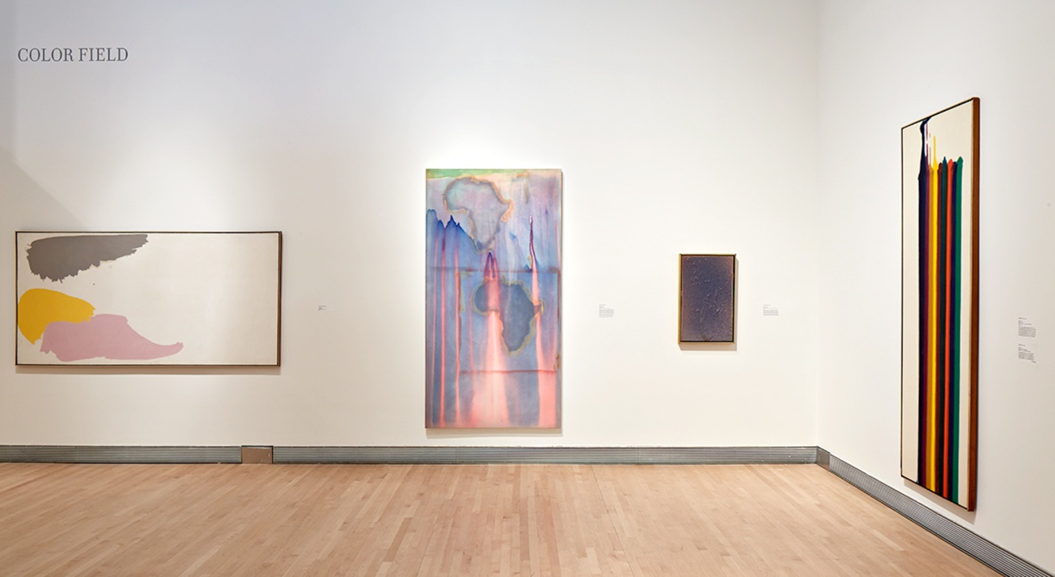 Installation view of Frank Bowling in Pretty Raw: Around and After Helen Frankenthaler at The Rose Art Museum
