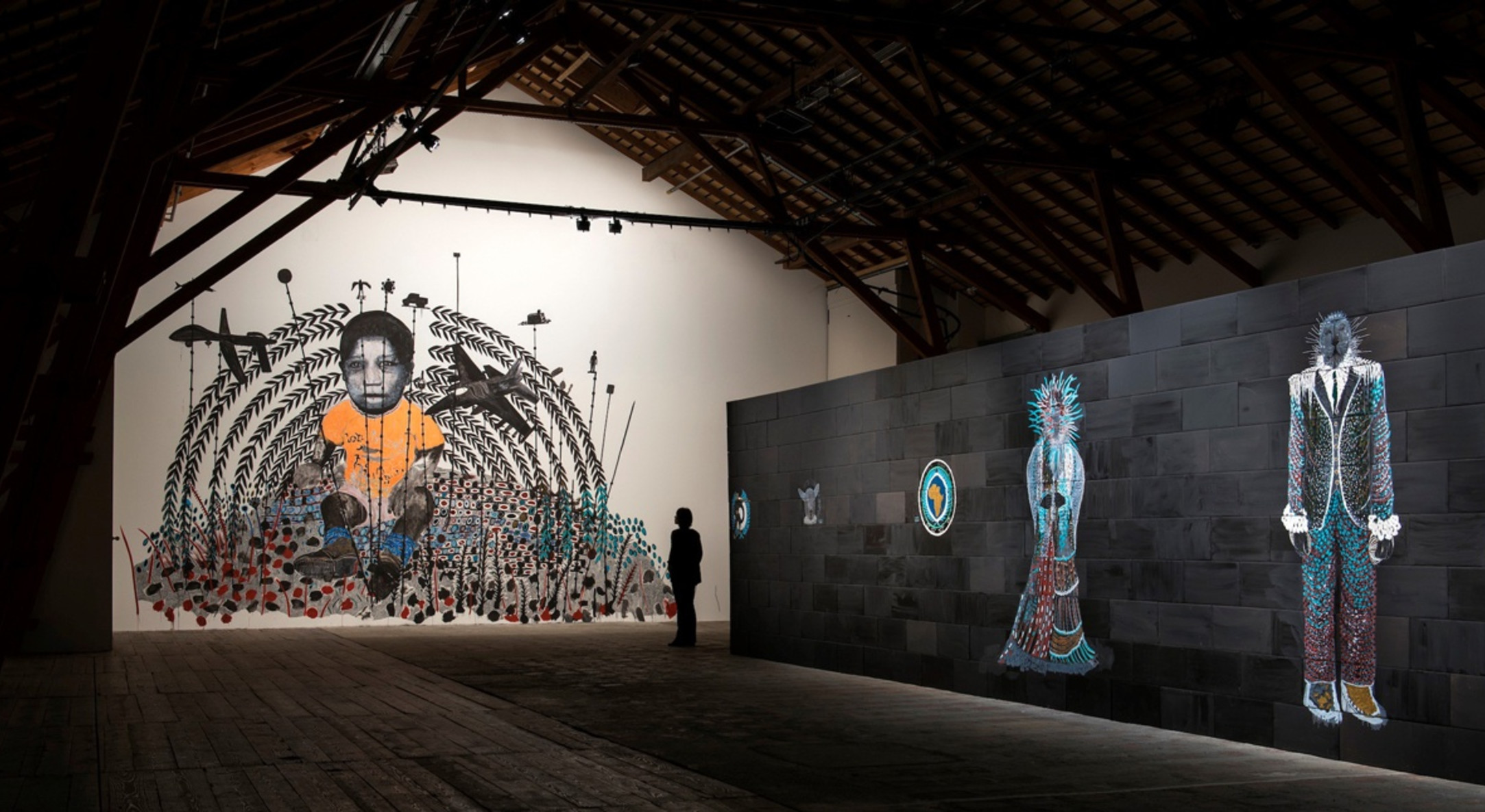 Installation view of Omar Ba, Dead Time 1 at the Ferme-Asile in Sion
