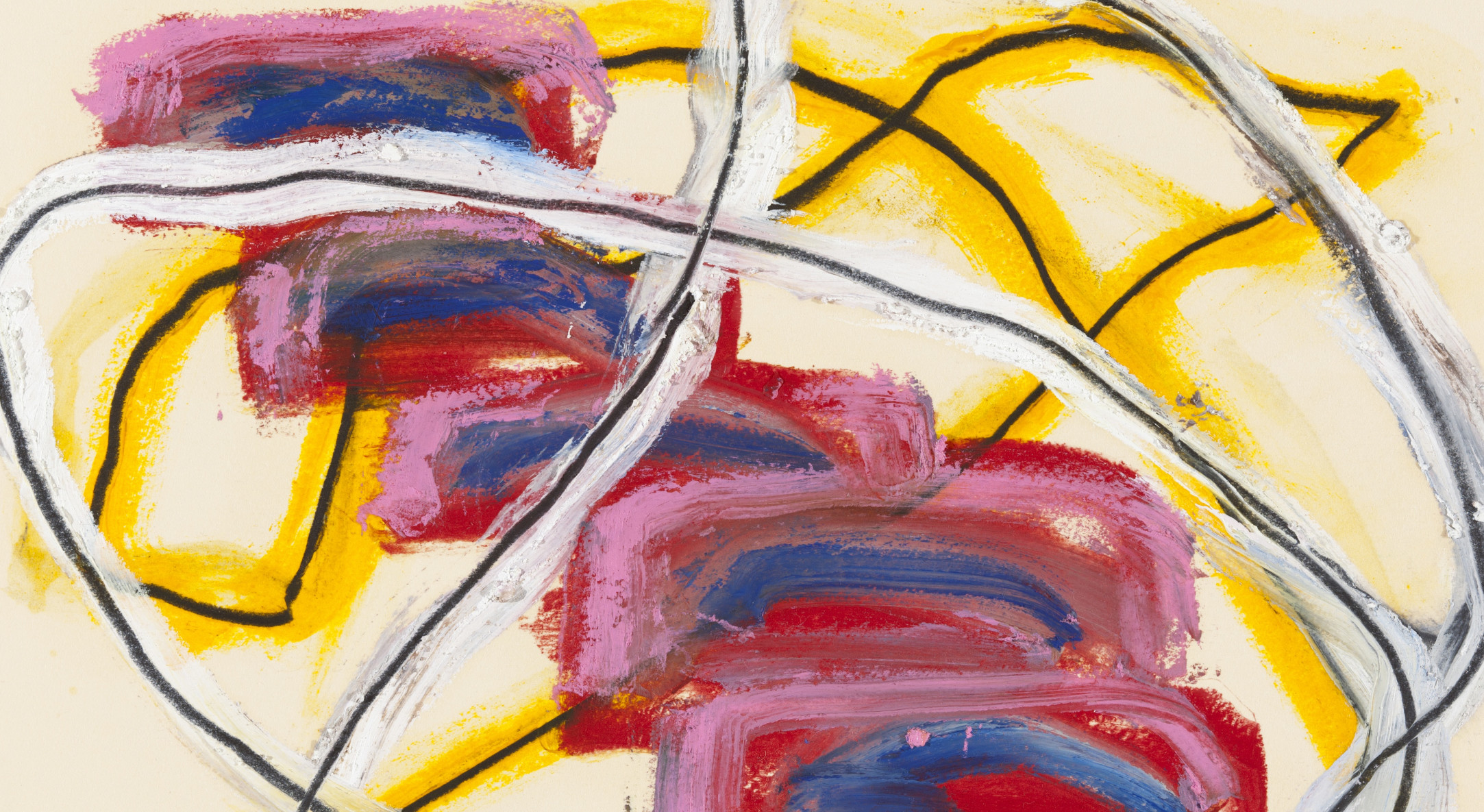 Detail of Basil Beattie Untitled, 2011, Mixed media on paper, 35.5 x 45.5 cm, 14 x 17 7/8 in