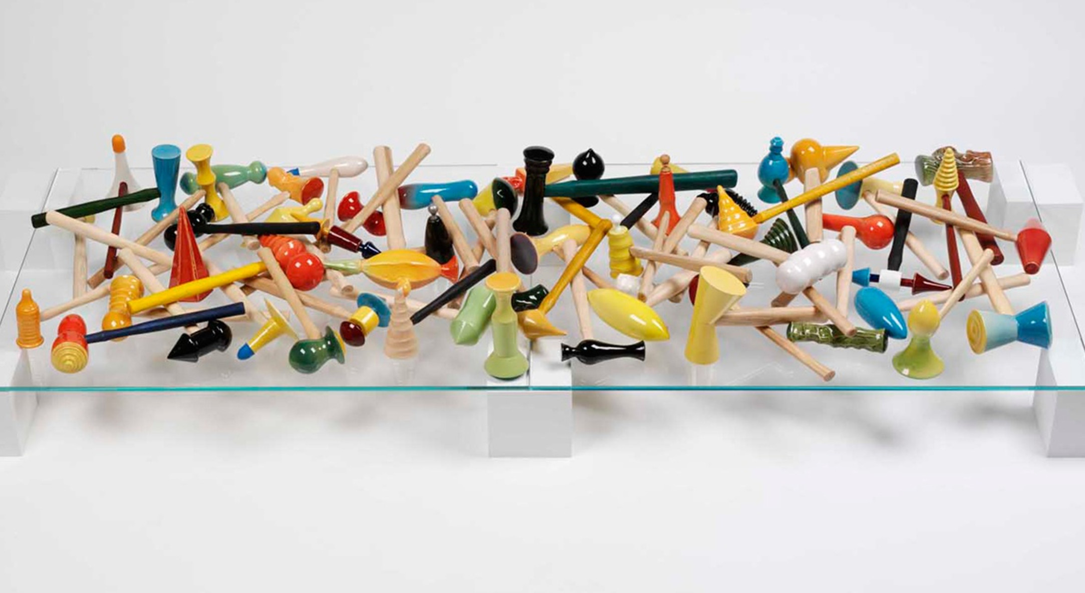 Richard Slee, Hammers, 2010-2018, Glazed ceramic with wood hammer handles, wood stain, rubber, metal, and found additions in three hundred and twenty-five (325) parts, Overall dimensions vary with installation