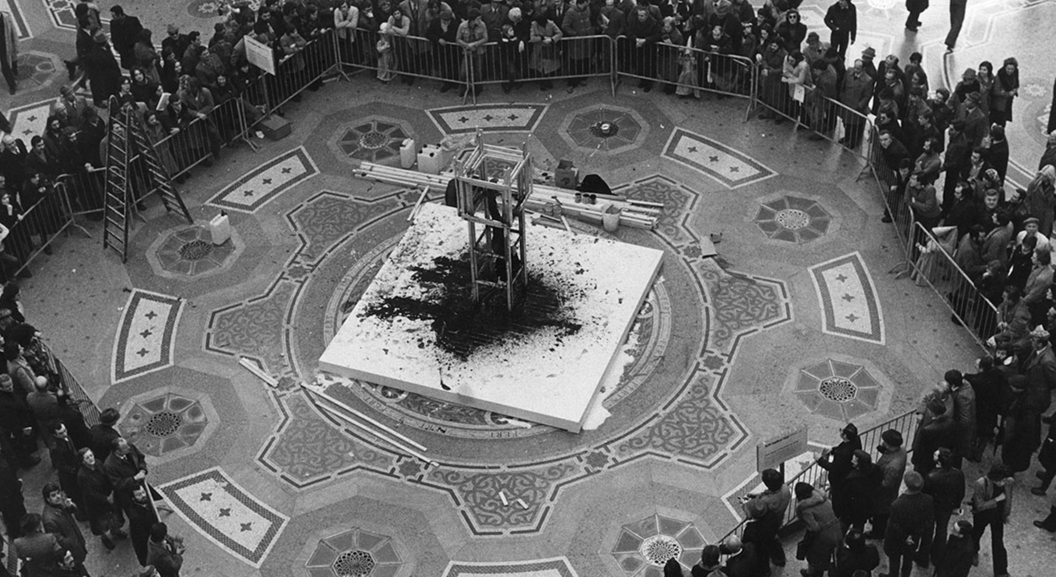 Performance still of Stuart Brisley, Homage to the Commune, 1976, Performance, Galleria Vittorio Emanuele II, Milan, Italy as part of Arte Inglese Oggi