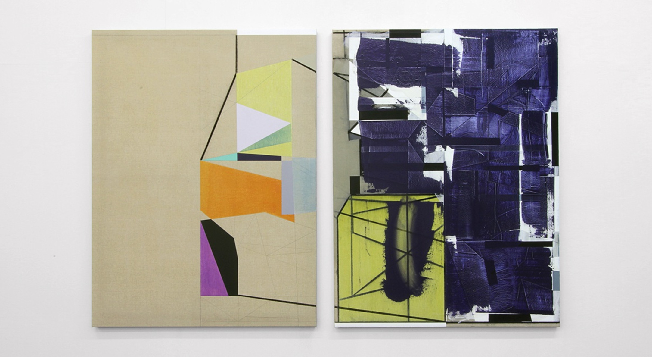 Andrew Bick, Variant t-s [shifted double echo], 2013-2014, Acrylic, charcoal, pencil, oil, wax medium, and watercolour on linen in two parts, Each:135 x 100 cm, 53 1/8 x 39 3/8 in