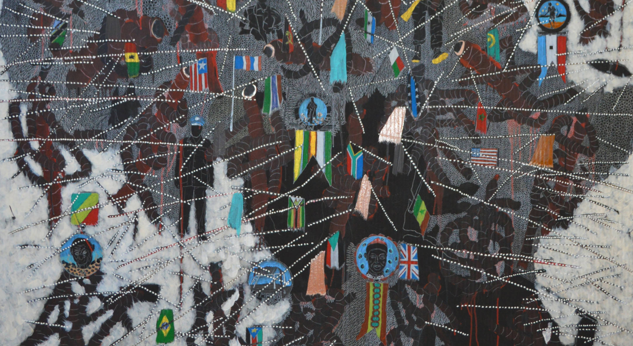 Detail of Omar Ba, Here Africa, 2015, oil, acrylic and crayons on cardboard, 200 x 130 cm