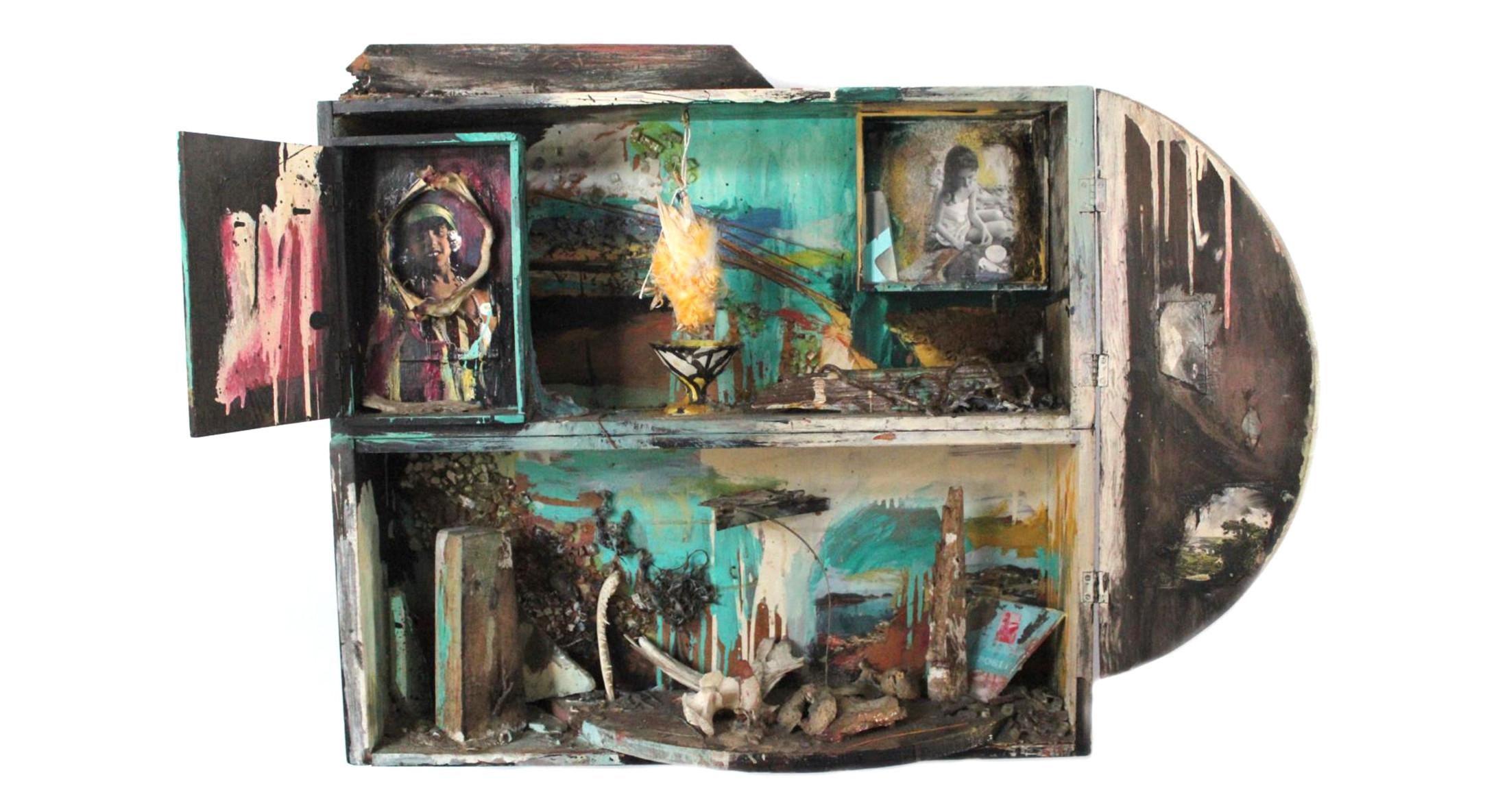 Carolee Schneemann, Native Beauties, 1963-1964, Wood, photographs, glass, bones, 104.1 x 66 x 14 cm, 41 x 26 x 5 1/2 in