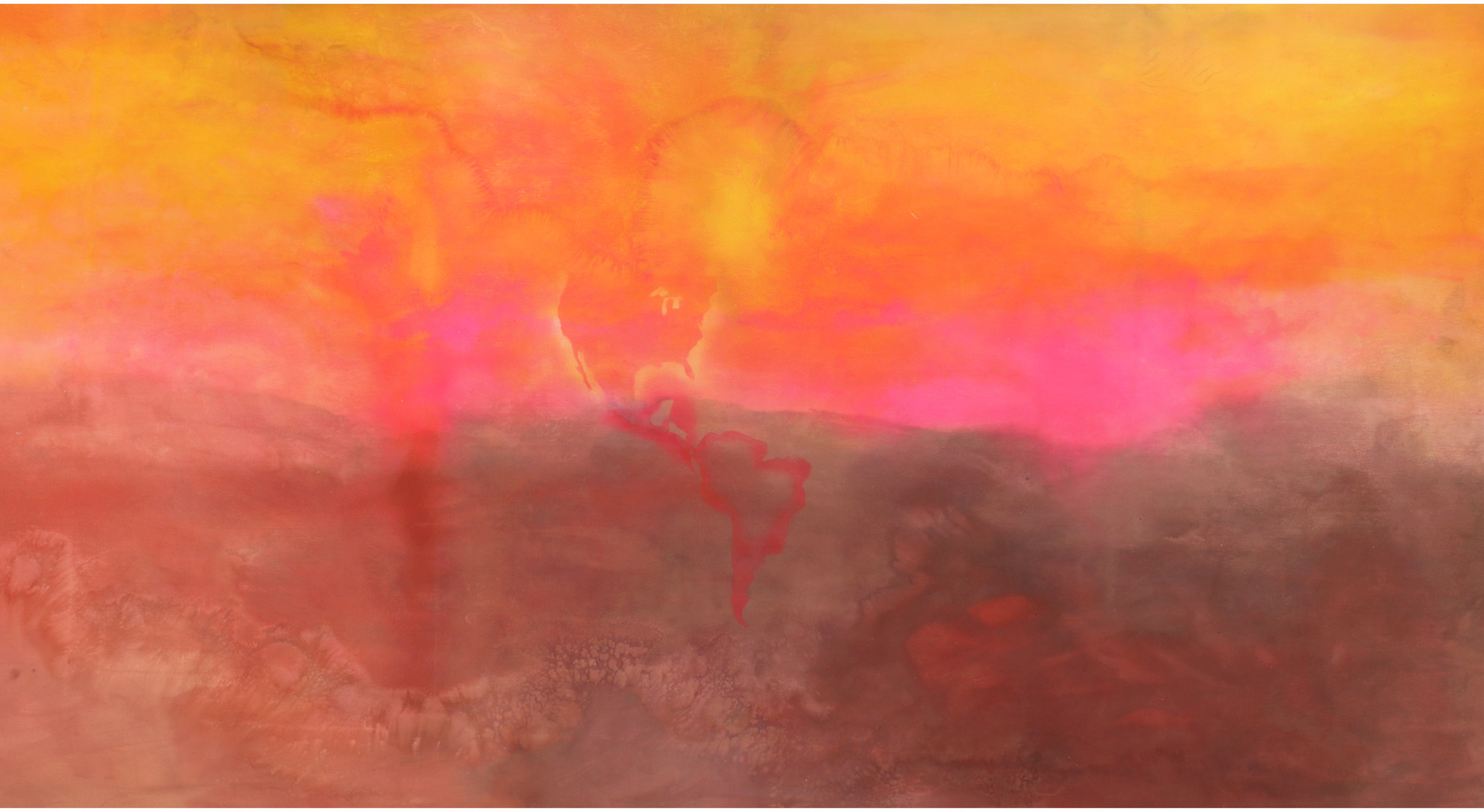 Frank Bowling, Texas Louise, 1971, Acrylic on canvas, 282 x 665 cm, 111 1/8 x 261 3/4 in