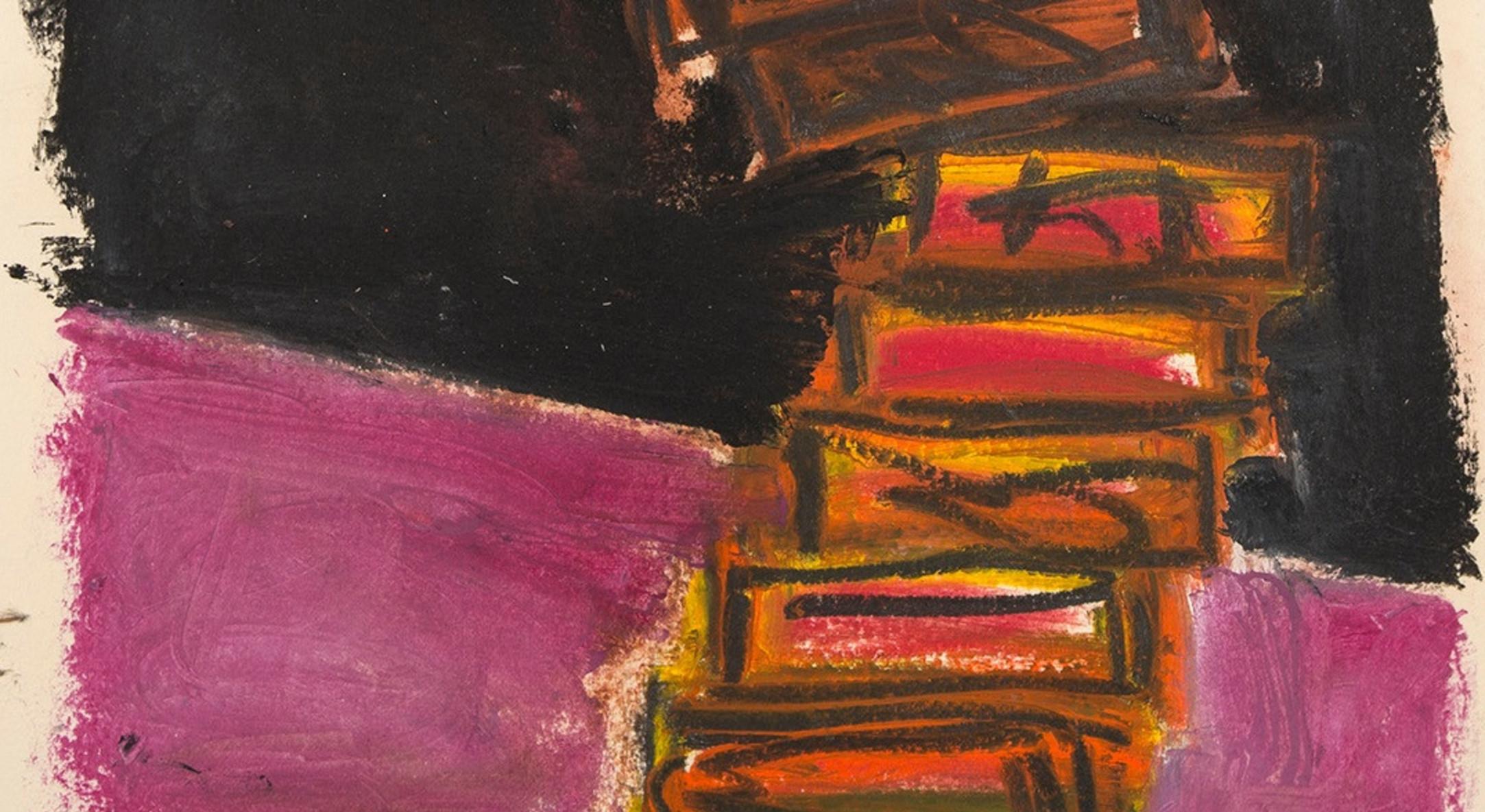Detail of Basil Beattie, Ladder Series 1, 2017, oil on paper