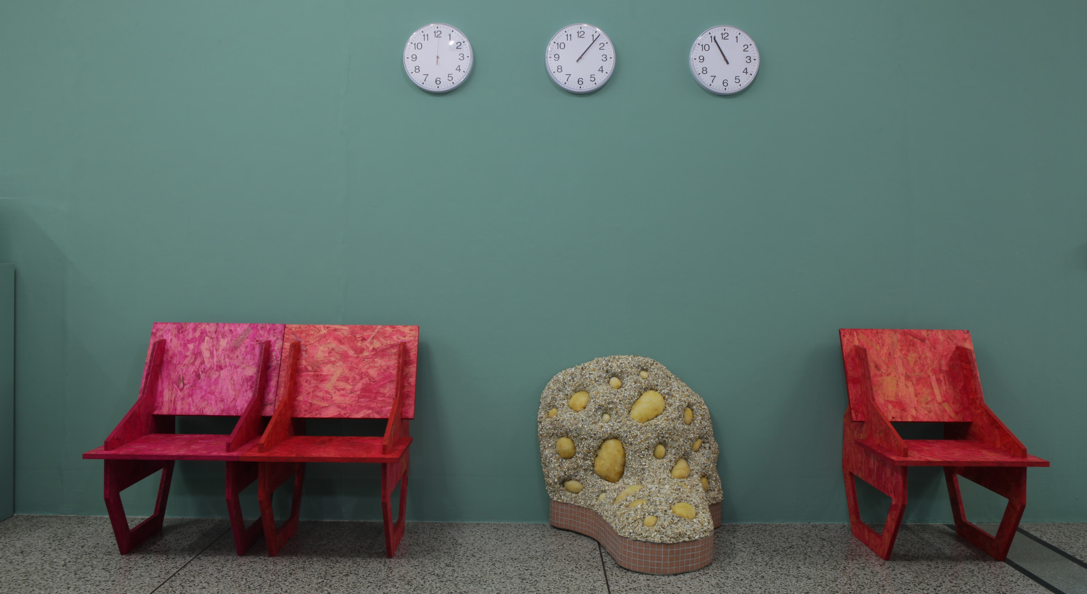 Installation view of Rachael Champion, The Waiting Room at Wimbledon Space