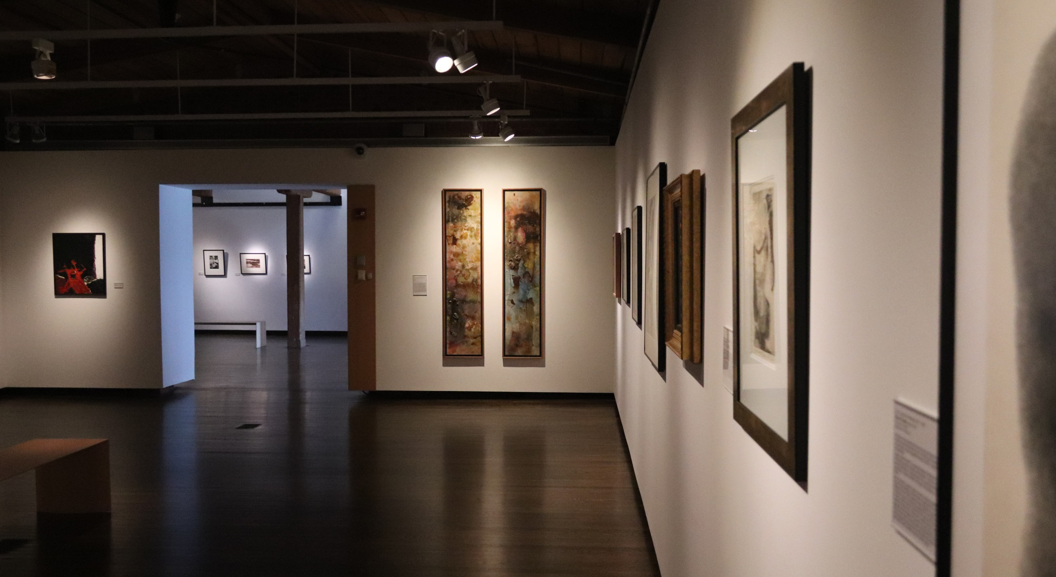 Installation view of Frank Bowling in From Colour and From to Expression and Response: Abstract Art at University of Delaware
